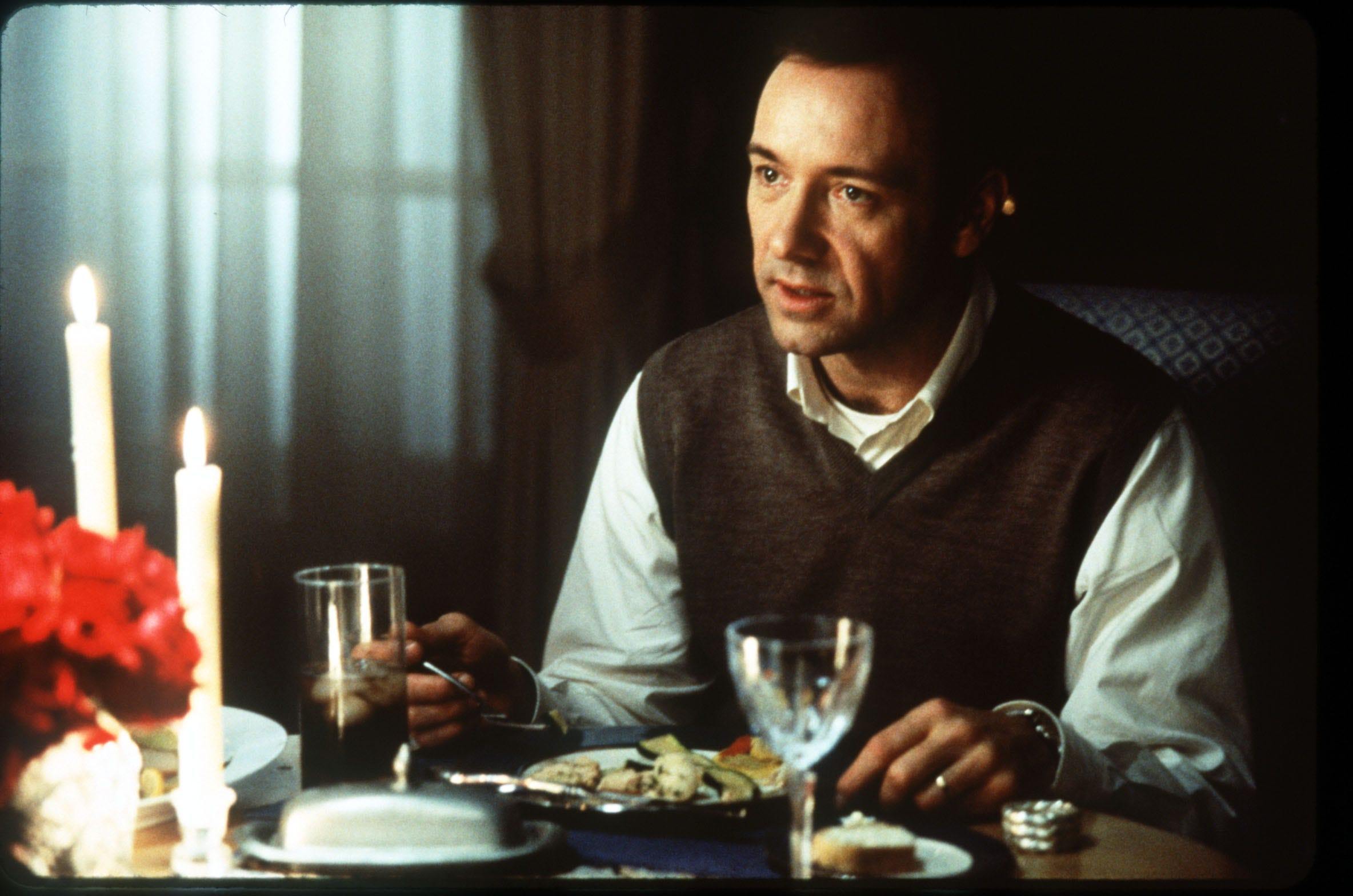 Kevin Spacey in a scene from the film American Beauty.