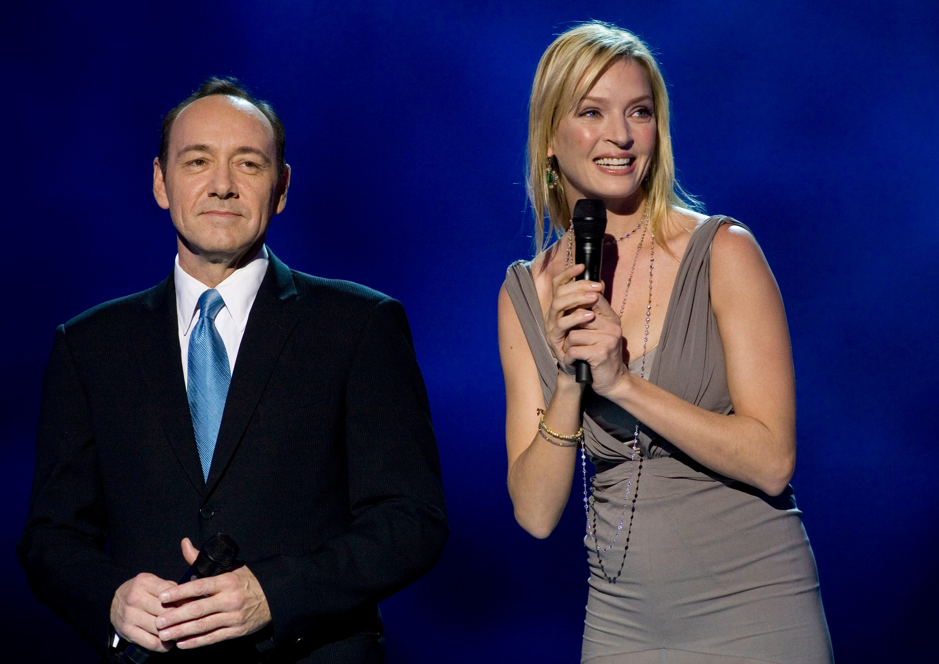 U.S. actors Kevin Spacey and Uma Thurman co host the