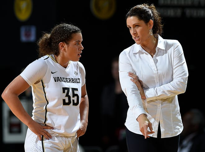 Vanderbilt head coach Stephanie White gives instructions to guard Kaleigh Clemons-Green (35) during the second half of their game against Middle Tennessee at Memorial Gymnasium Friday, Nov. 10, 2017 in Nashville, Tenn.