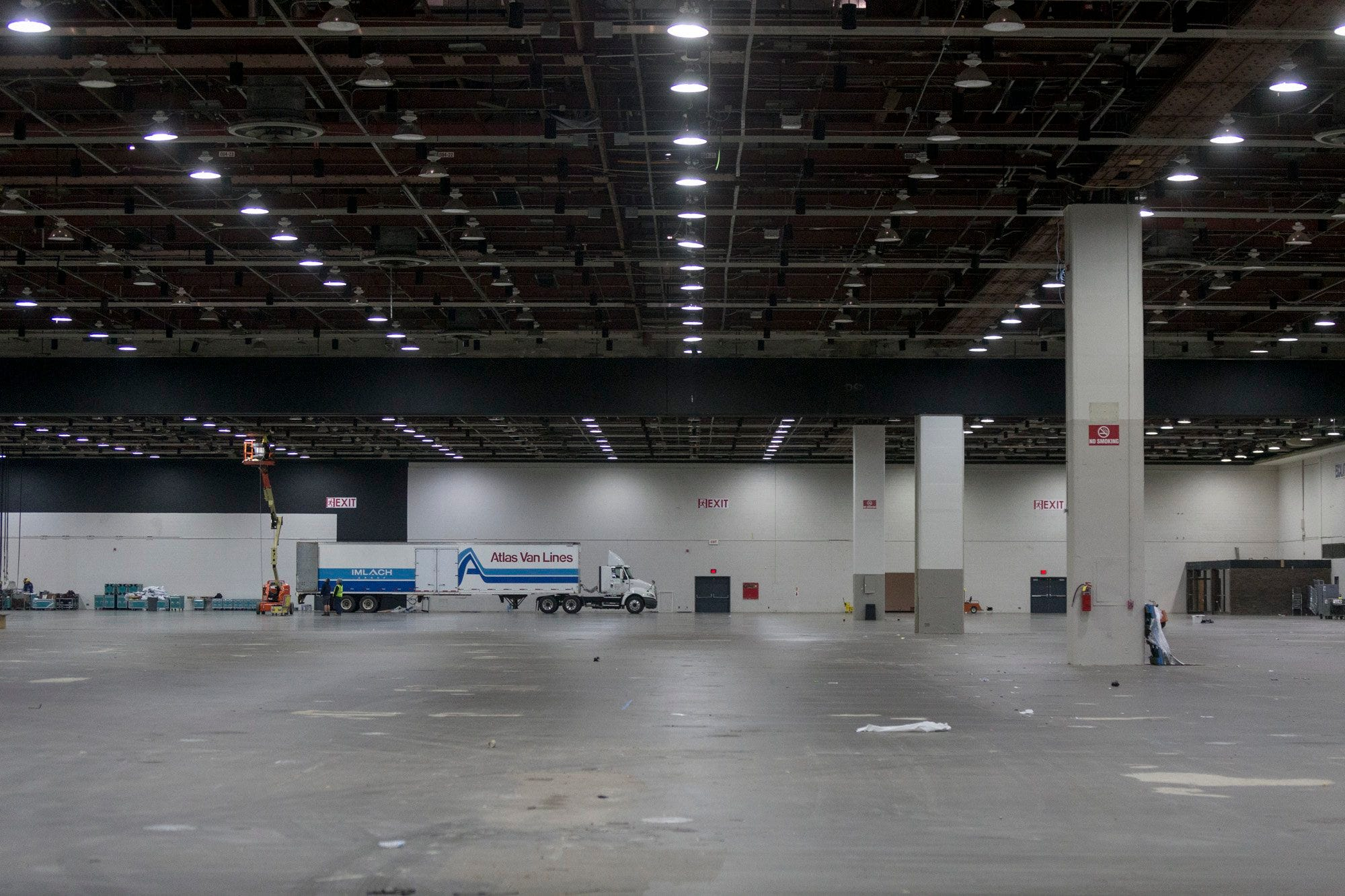 An empty Cobo Center is being prepared for the North