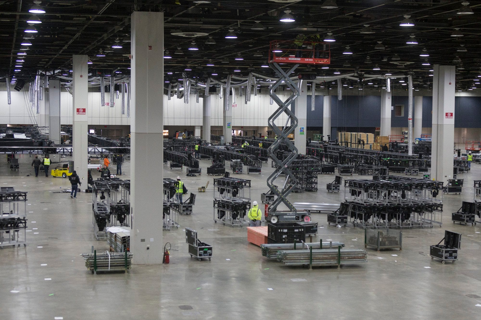 Construction crews work to prepare Cobo Center for