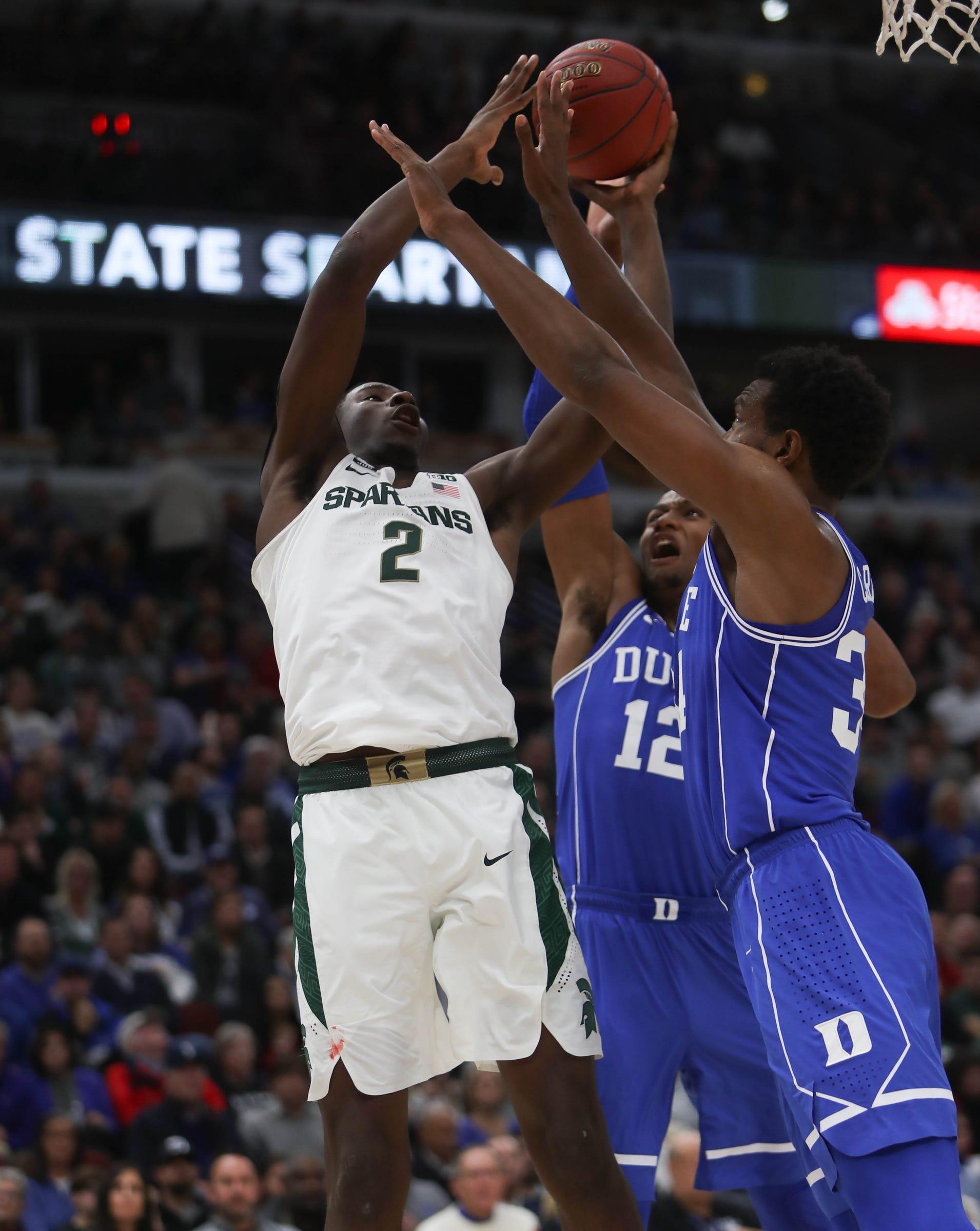 Michigan State's Jaren Jackson Jr. scores against Duke's