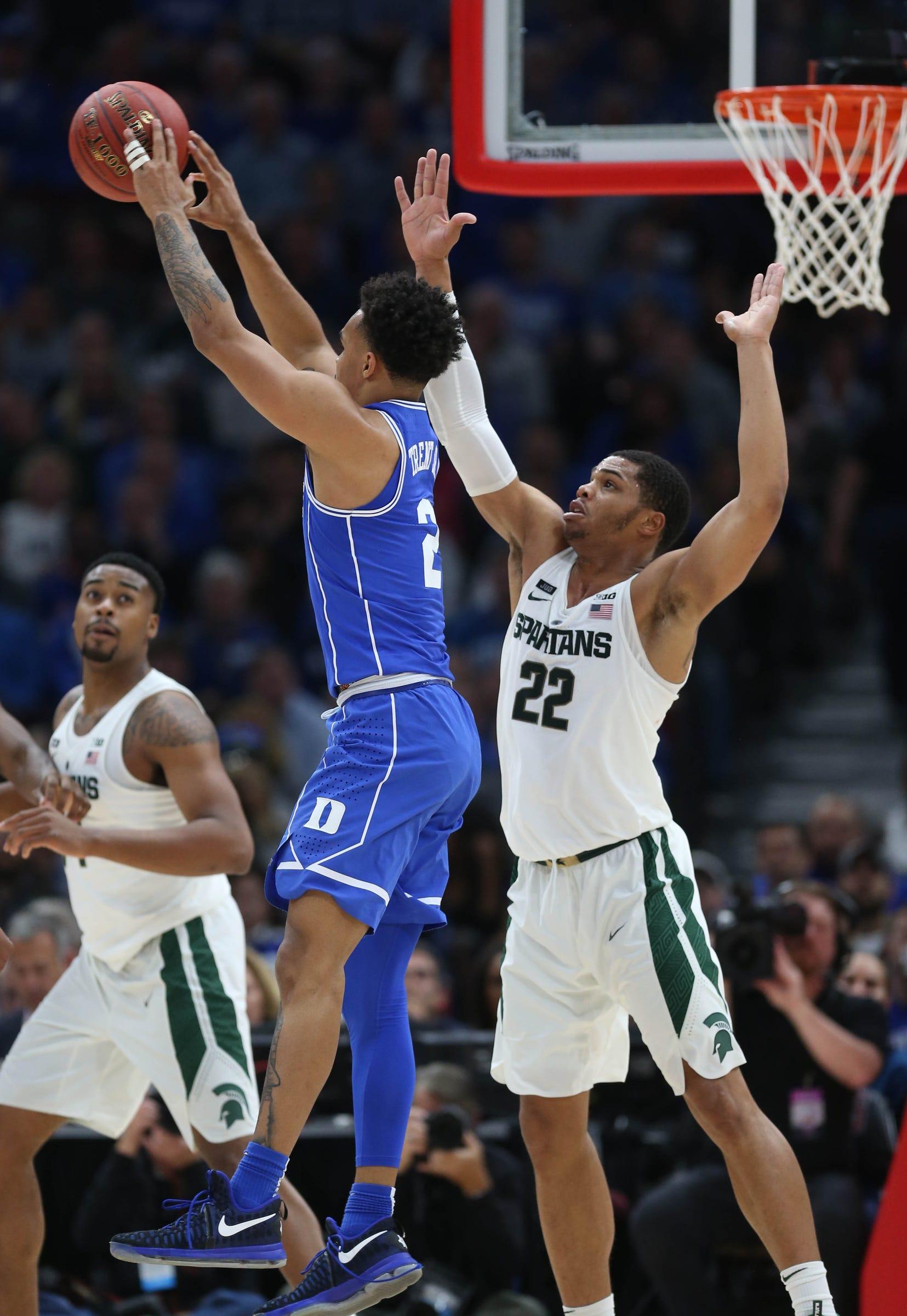 Michigan State's Miles Bridges defends against Duke's