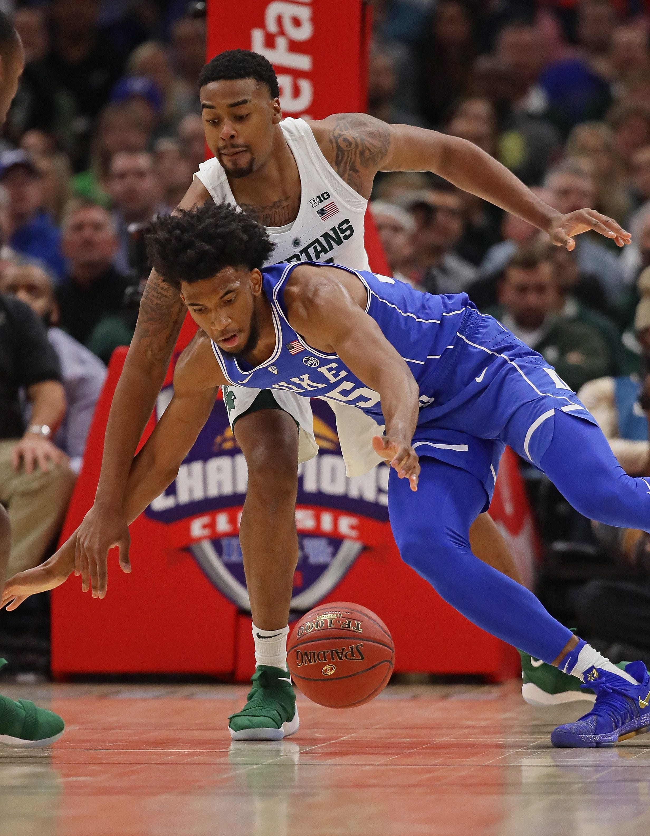 Duke's Marvin Bagley III tries to control the ball