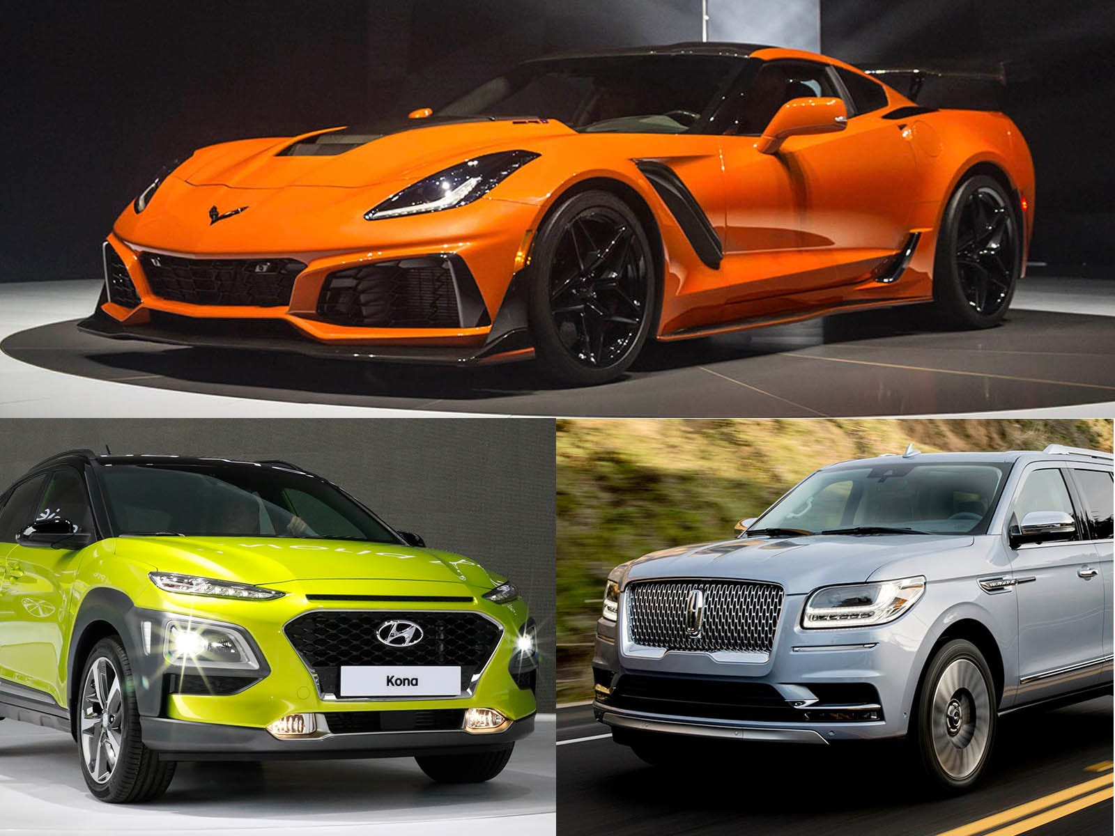 Clockwise from upper left, 2019 Chevrolet Corvette
