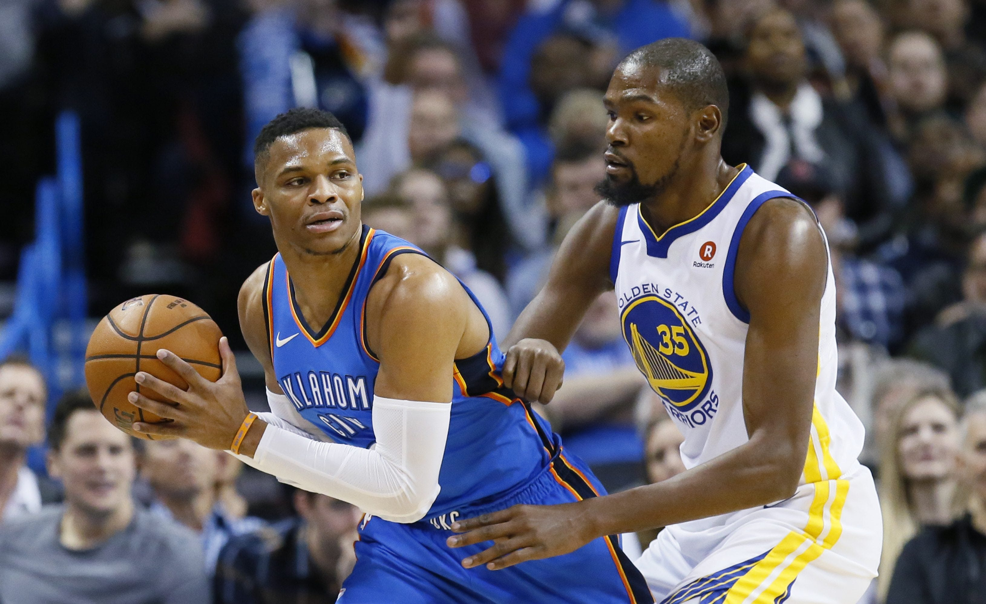 Kevin Durant smiles through trash talk with Russell Westbrook