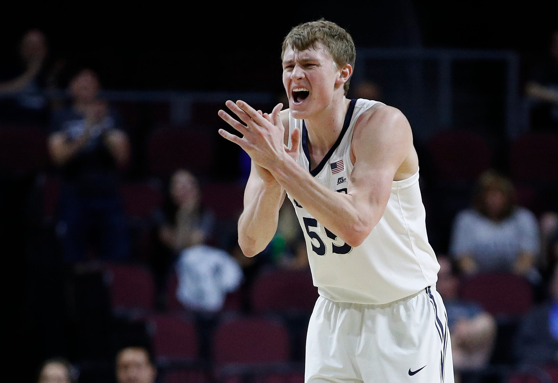 Xavier's J.P. Macura reacts after a play against Arizona