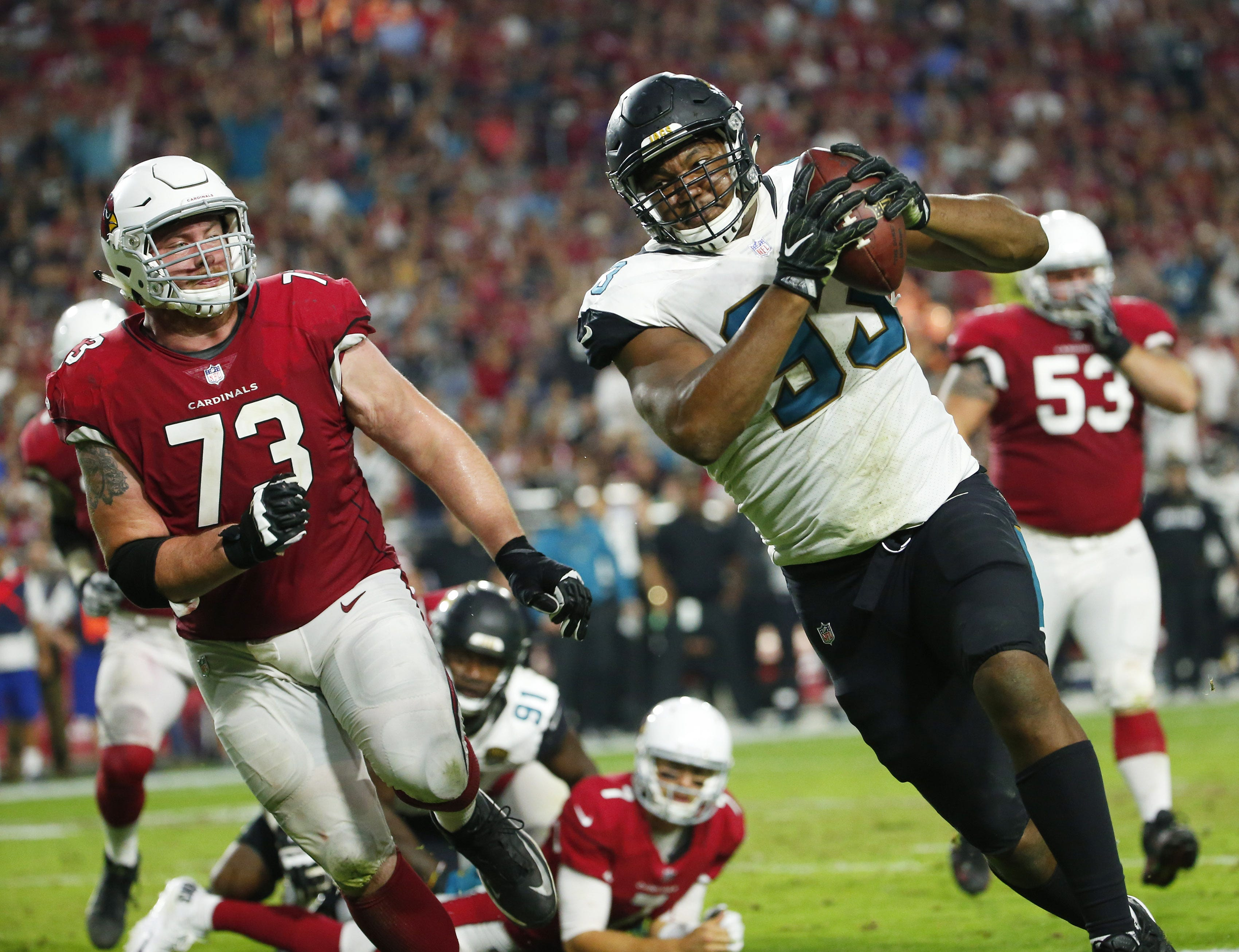 Fans of Cardinals Calais Campbell the best of both worlds
