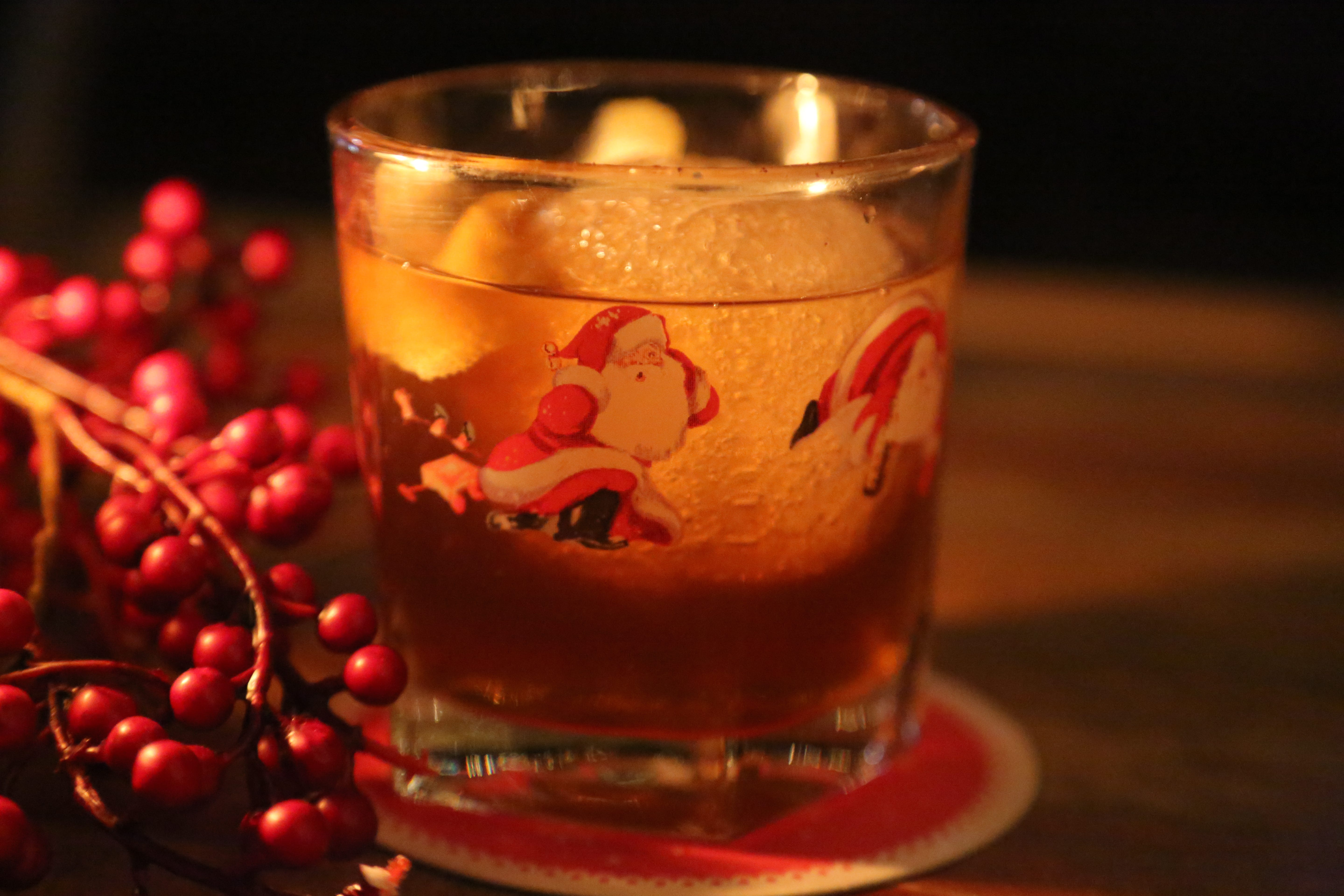 A Snowball Old Fashioned made with gingerbread bourbon