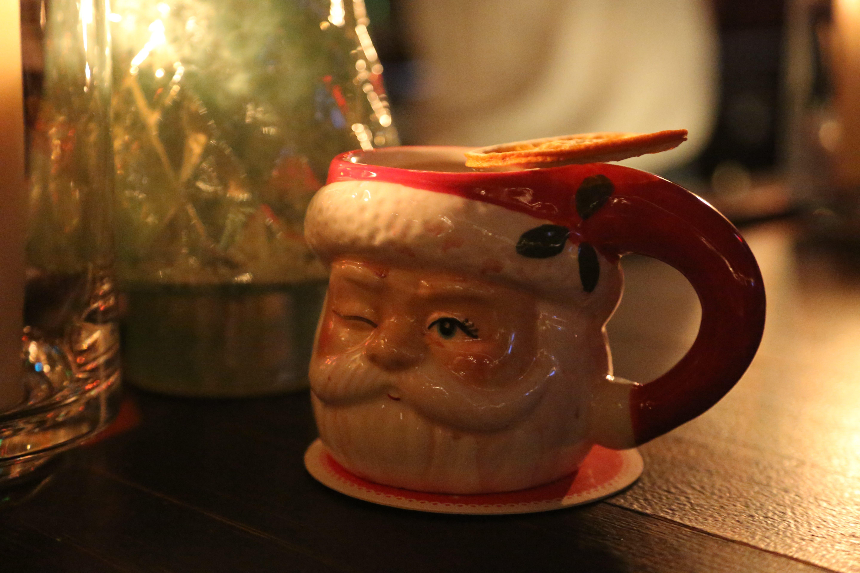 A Bad Santa cocktail (mulled wine, tawny port, orange