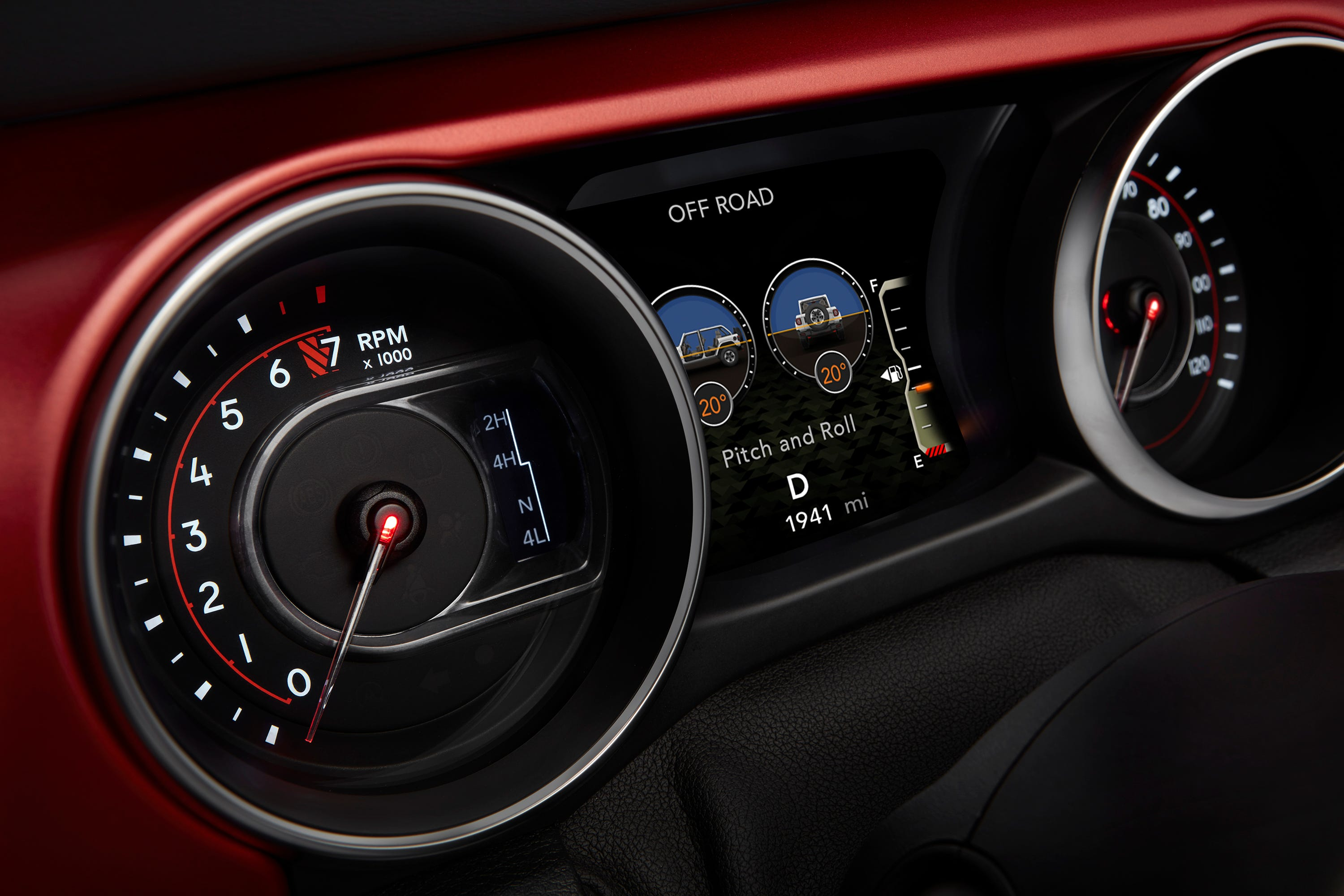 This is the instrument panel in the 2018 Jeep Wrangler