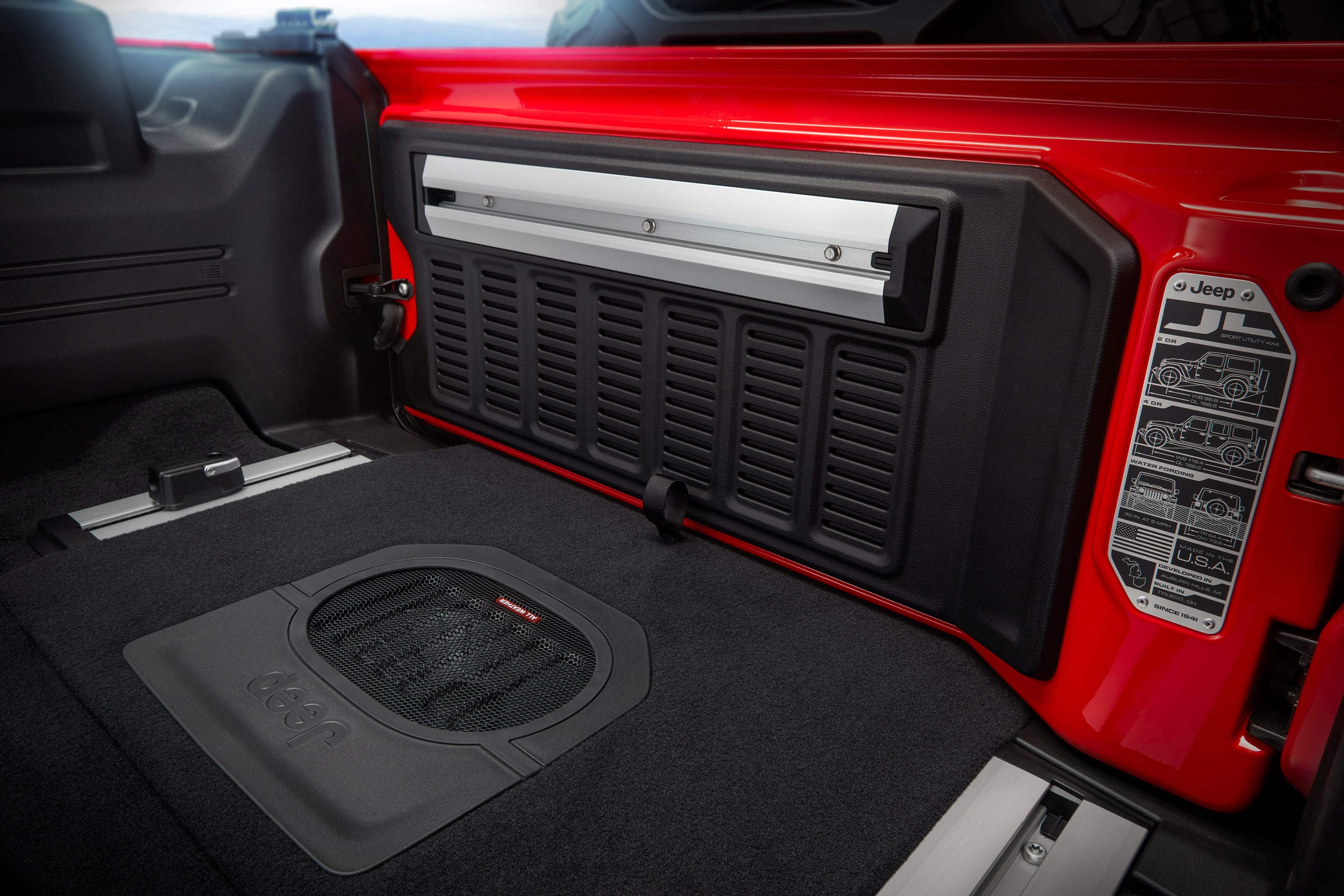This is the cargo area in the 2018 Jeep Wrangler Rubicon.