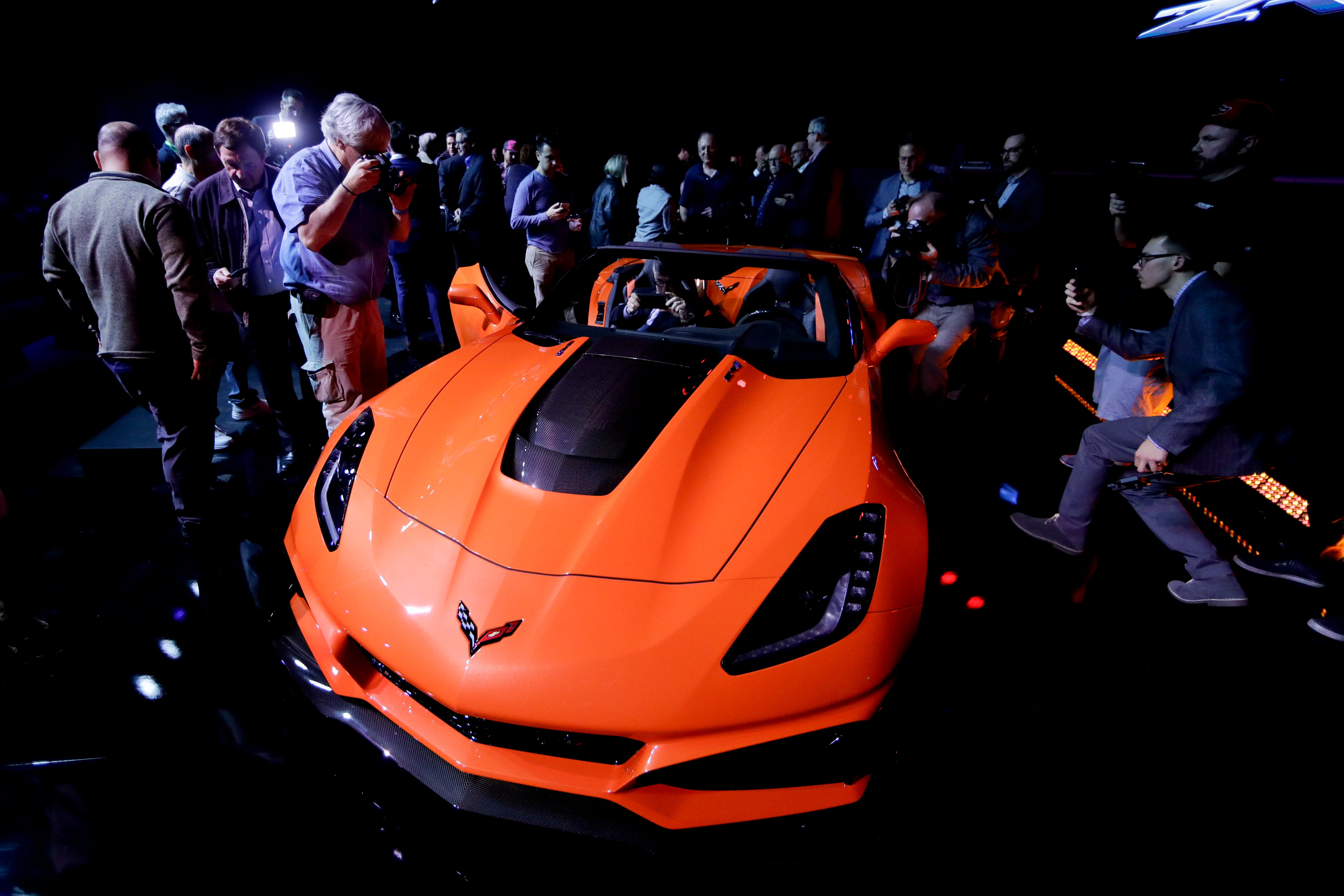 People gather around the 2019 Chevrolet Corvette ZR1