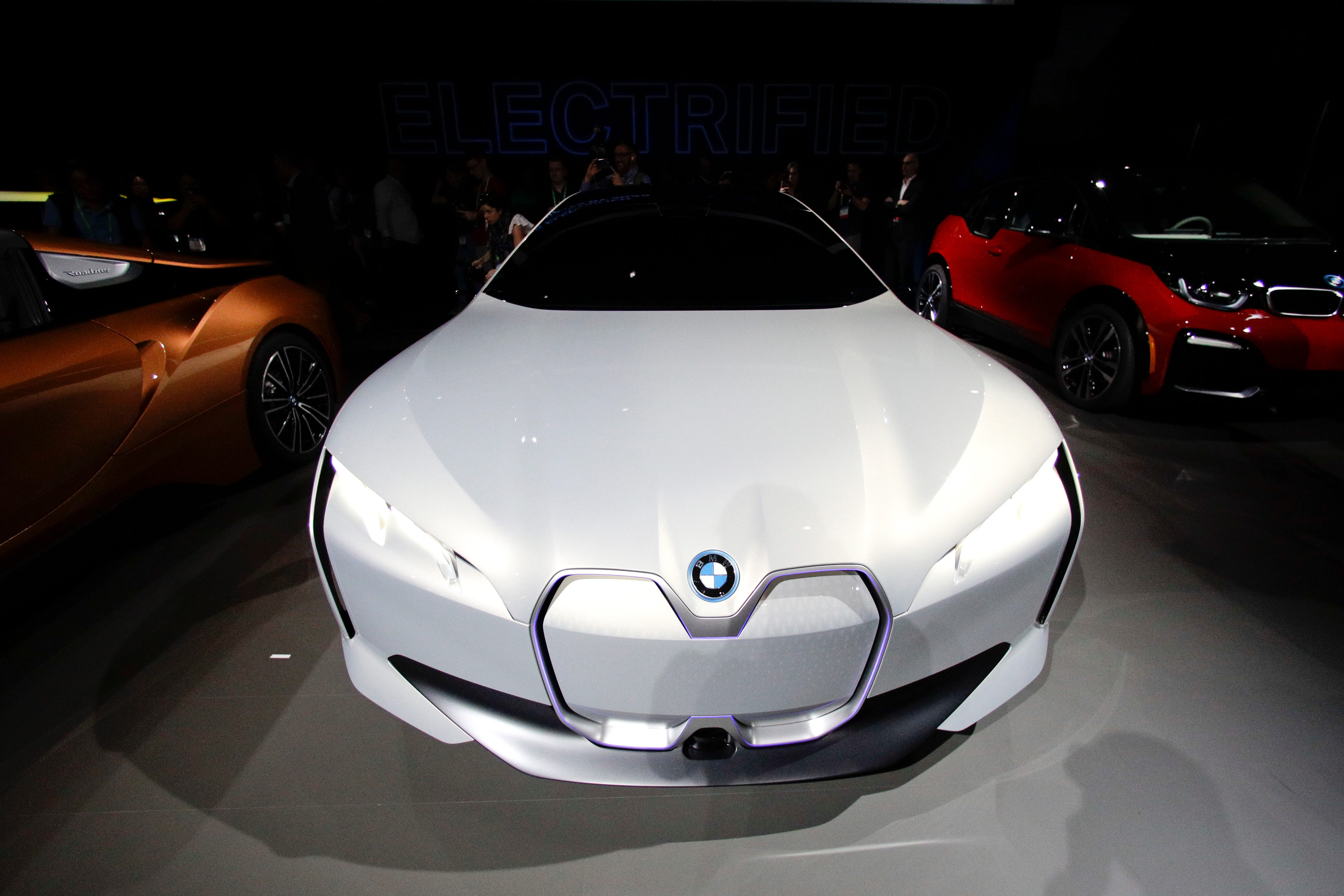 The BMW i Vision Dynamics electric vehicle is showcased