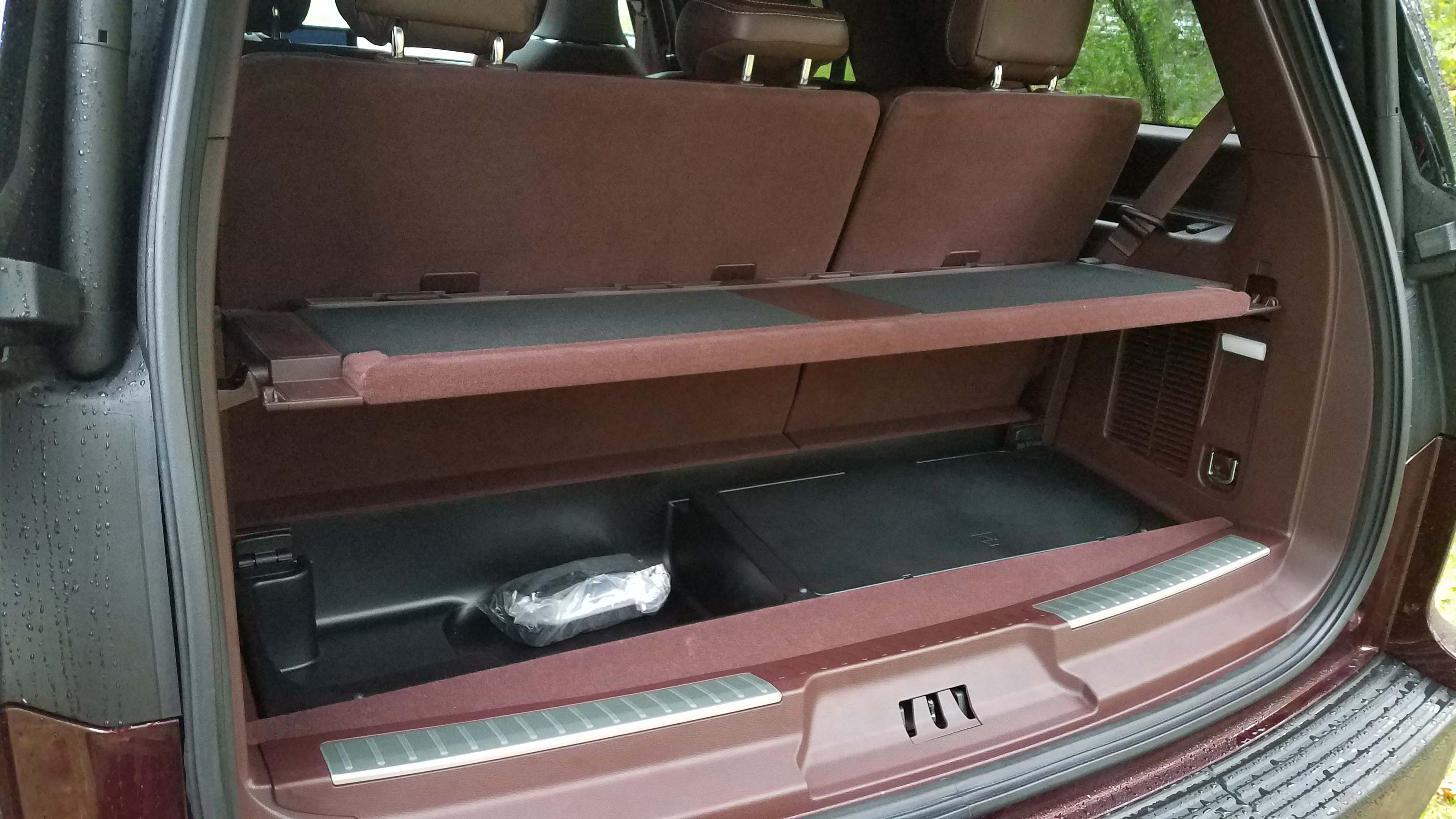 The rear cargo space of the Lincoln Navigator can be