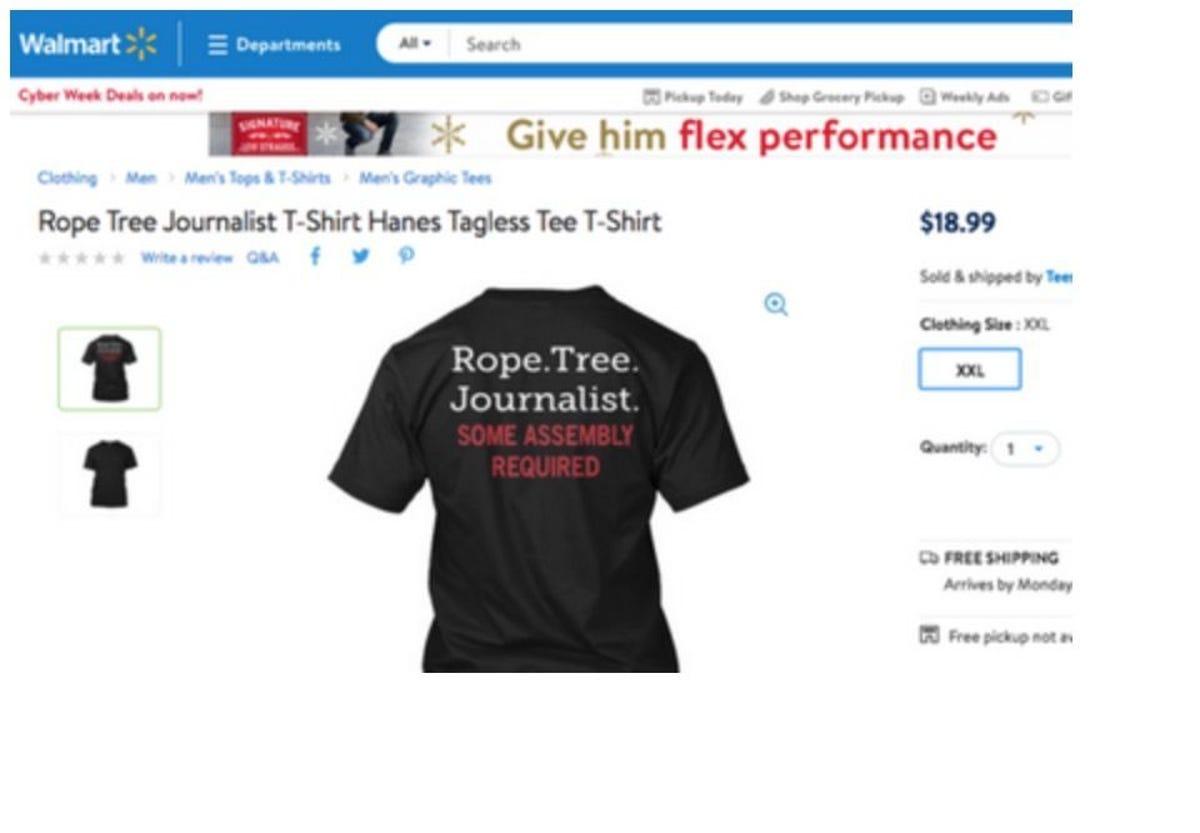Walmart yanks T-shirt about lynching journalists made by Teespring