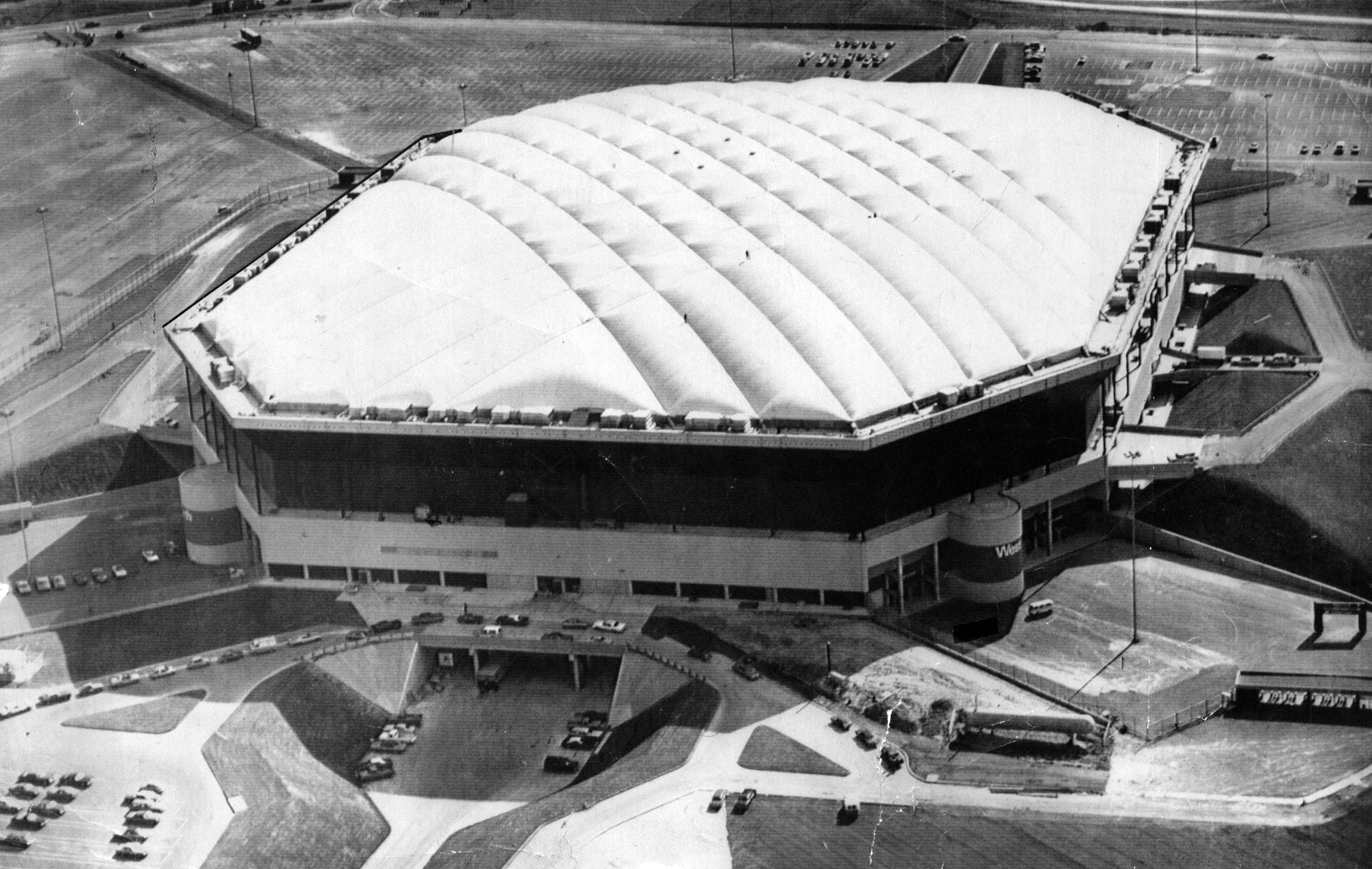 The Pontiac Silverdome is seen from the air in 1975,