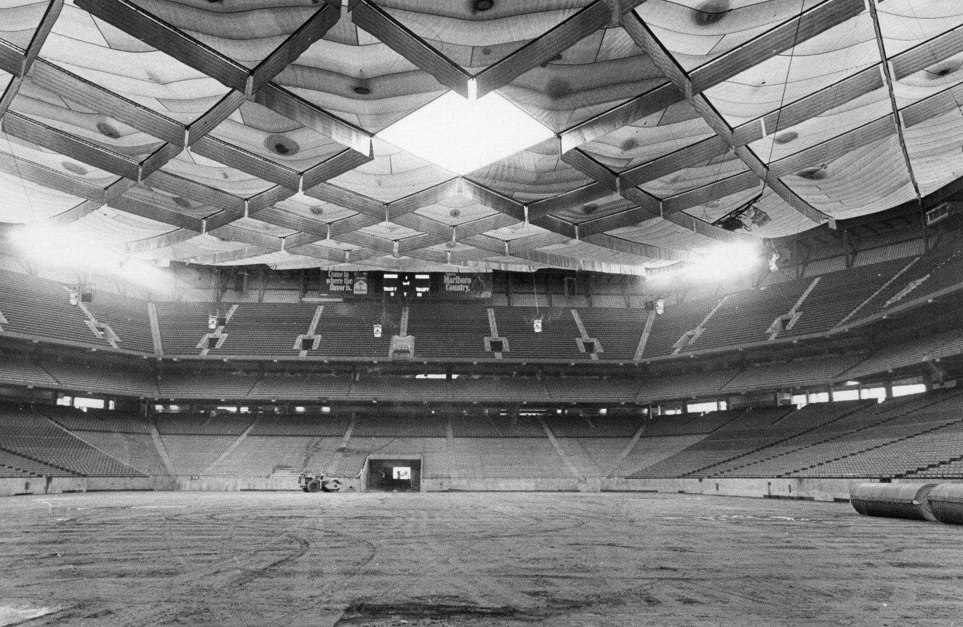 The last panel is waiting to be installed in the Silverdome