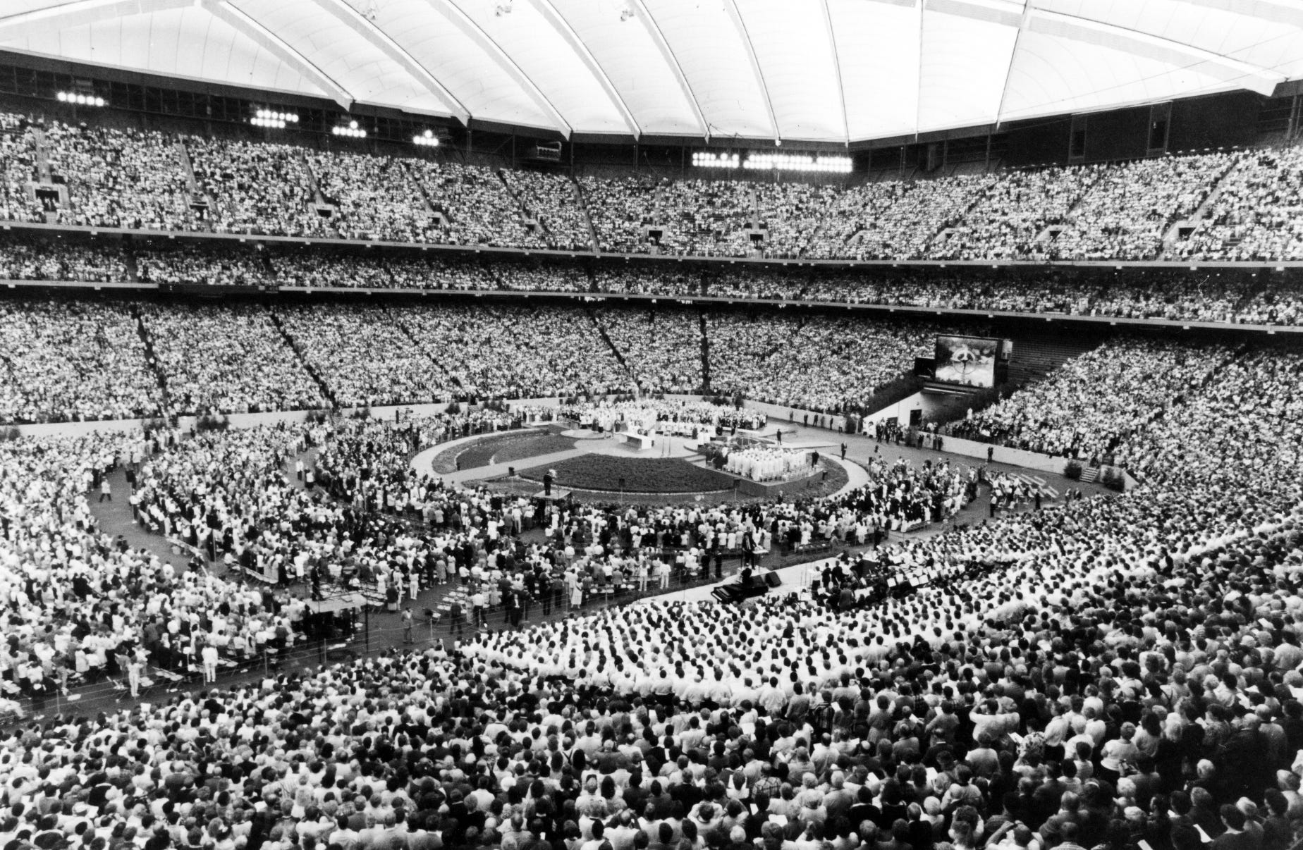 The faithful fill the Silverdome on September 19, 1987,