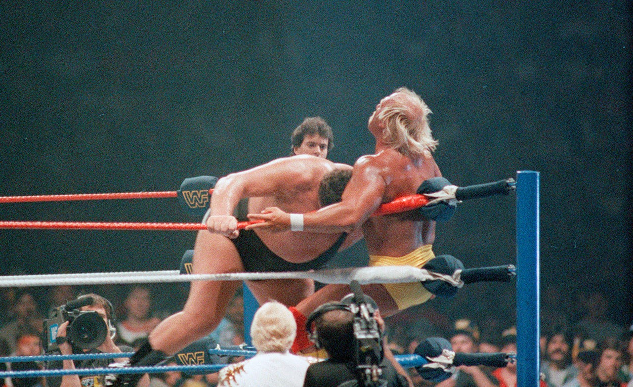 Andre the Giant charges Hulk Hogan at WrestleMania