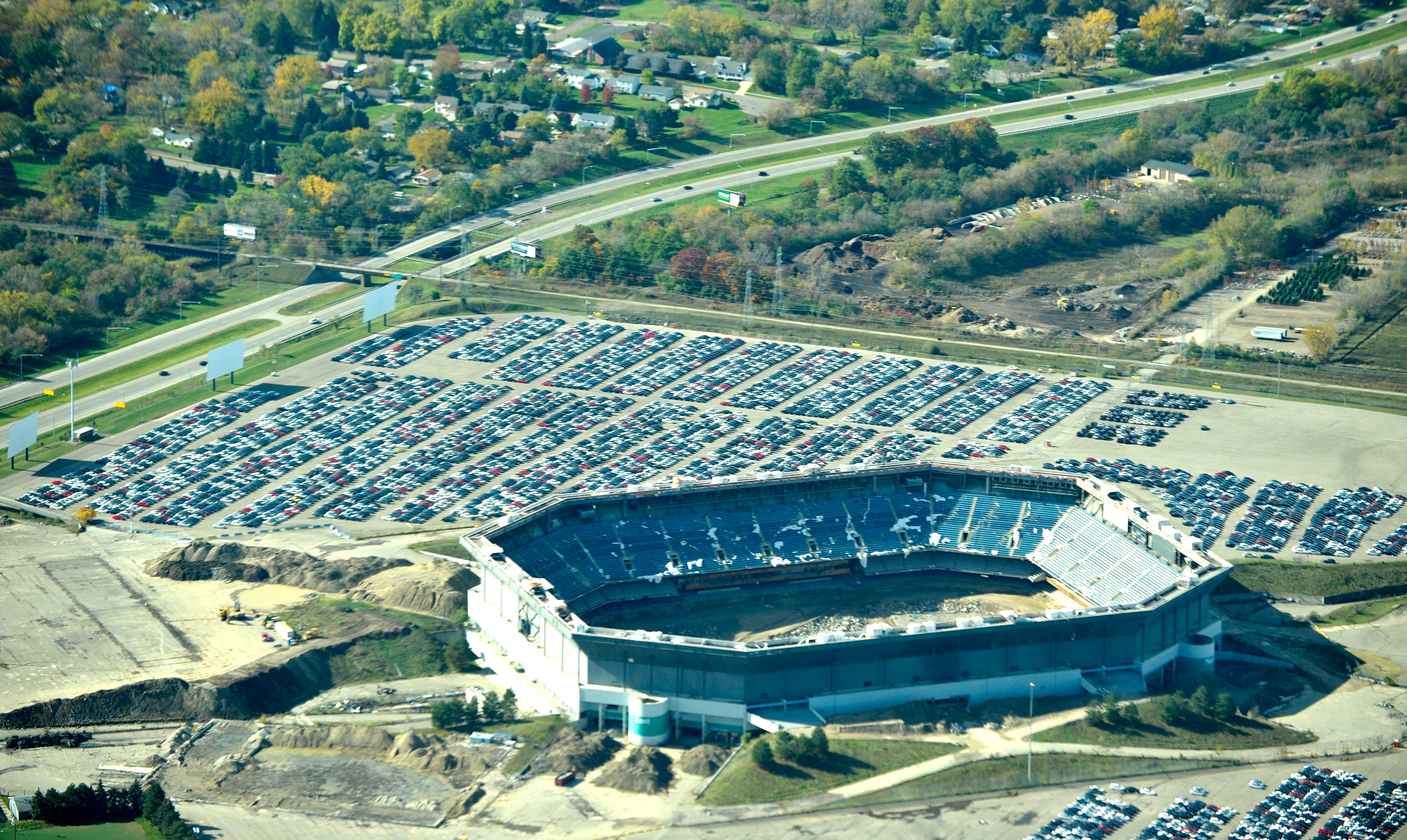 What remains of the Silverdome is seen in an aerial