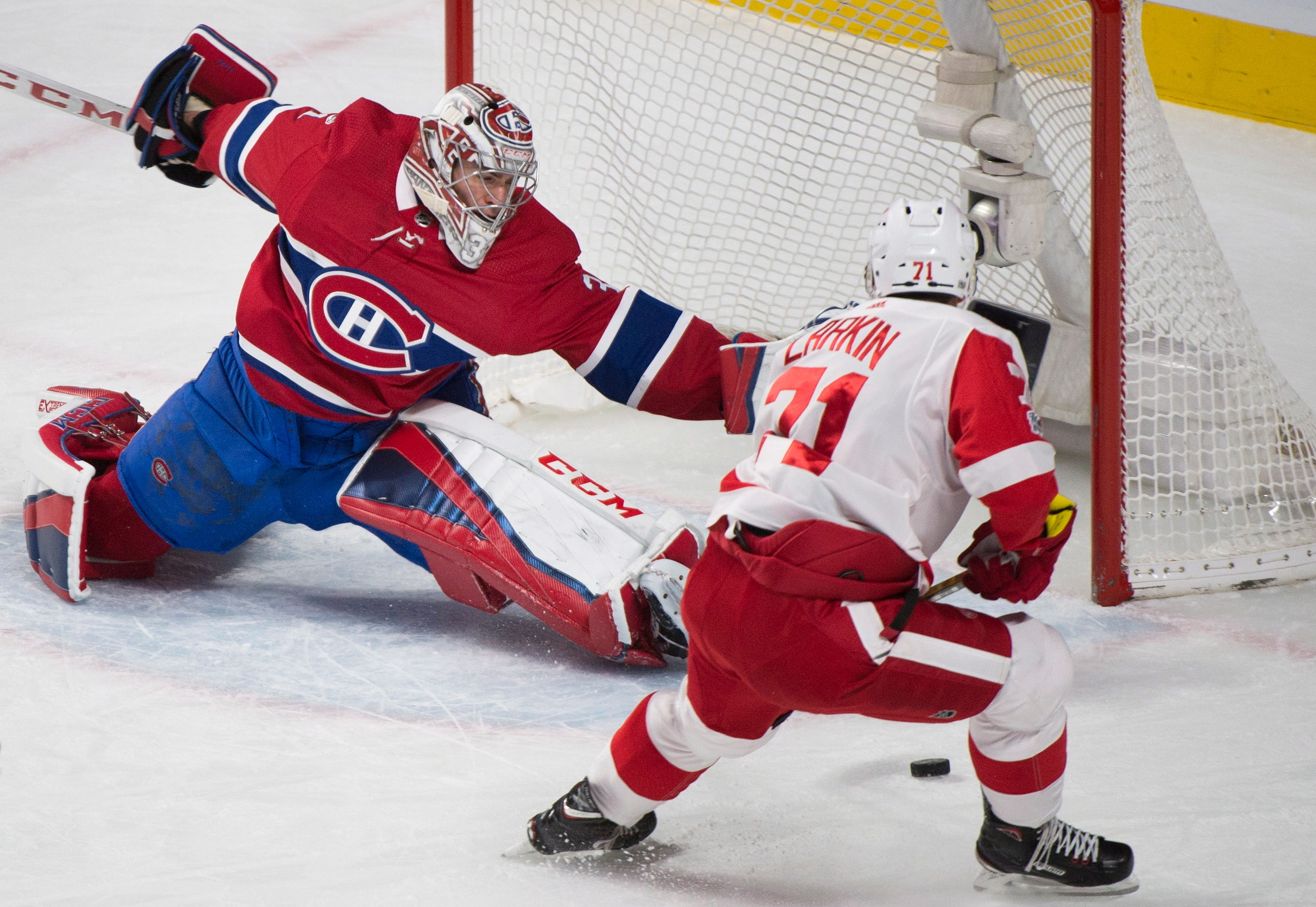 Byron hat trick fuels Canadiens over Red Wings 10-1