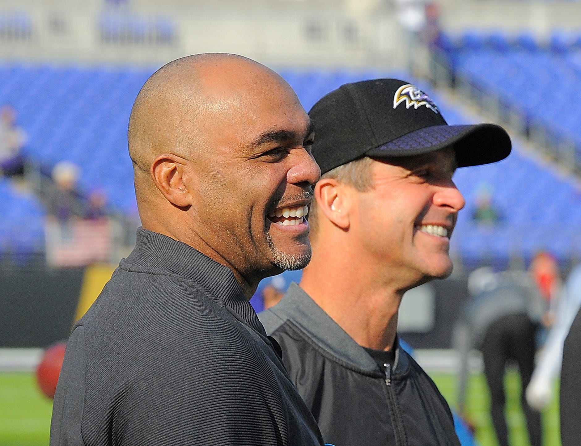 Lions defensive coordinator Teryl Austin, left, and