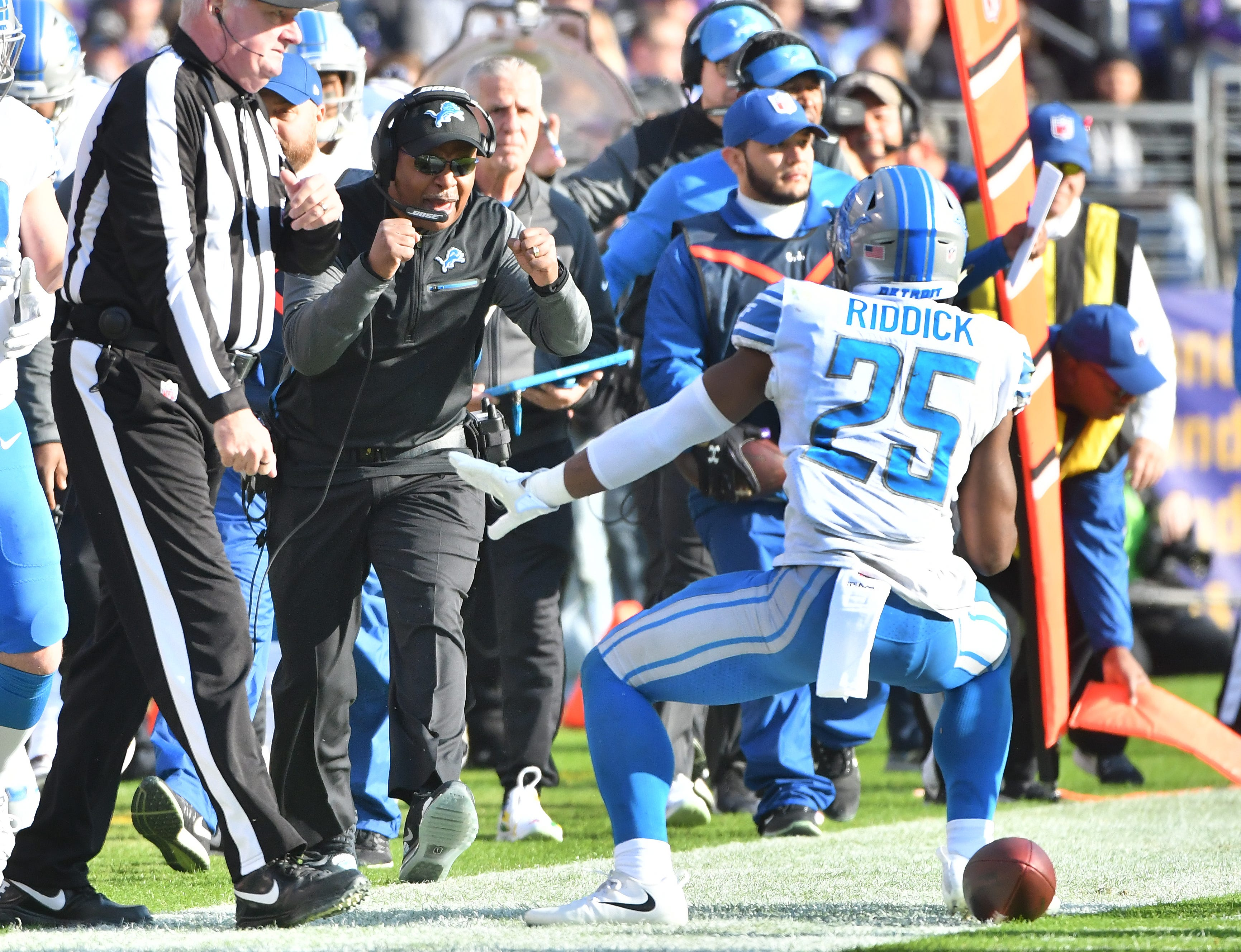 Lions head coach Jim Caldwell is pleased as running