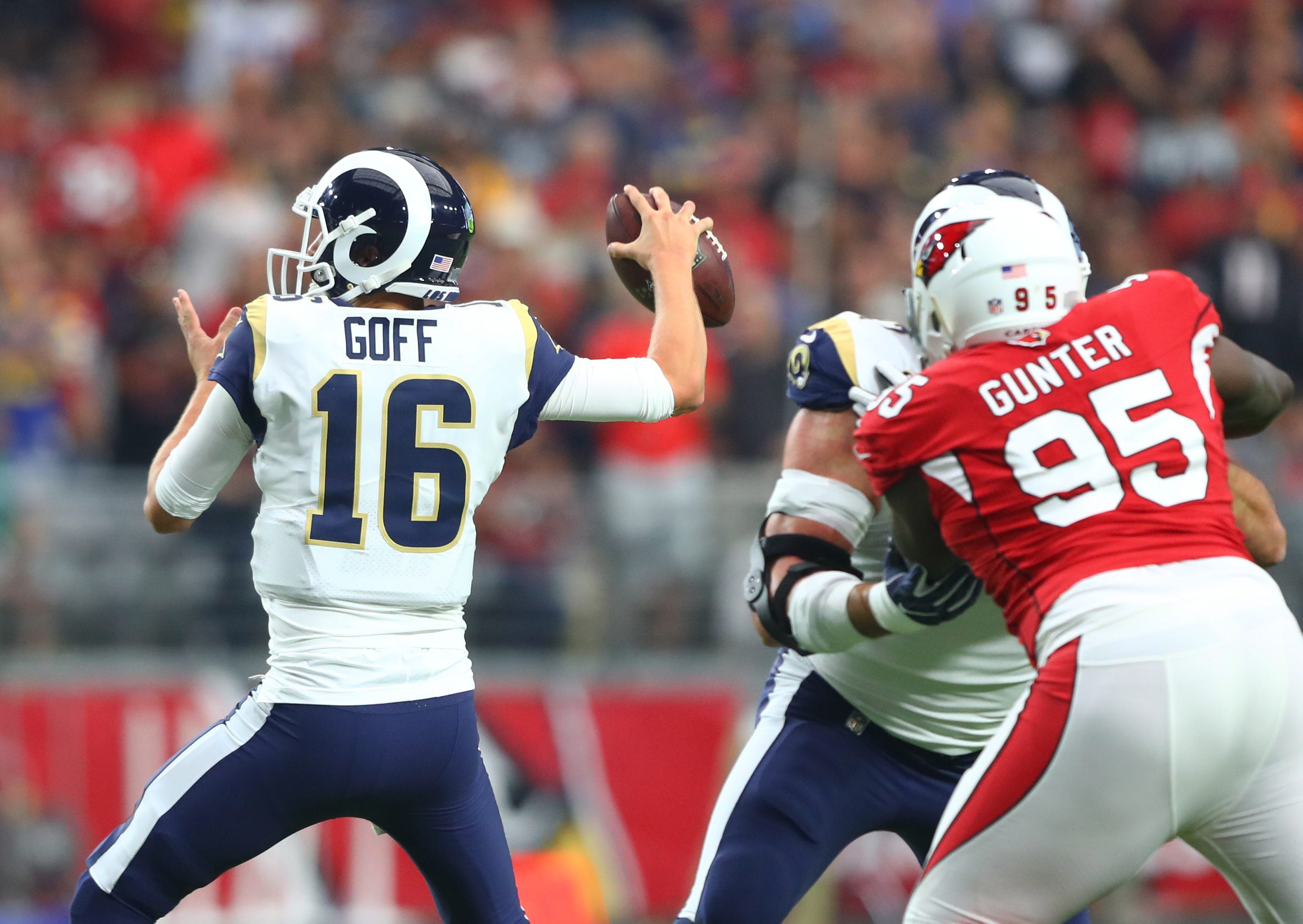Los Angeles Rams quarterback Jared Goff (16) in the