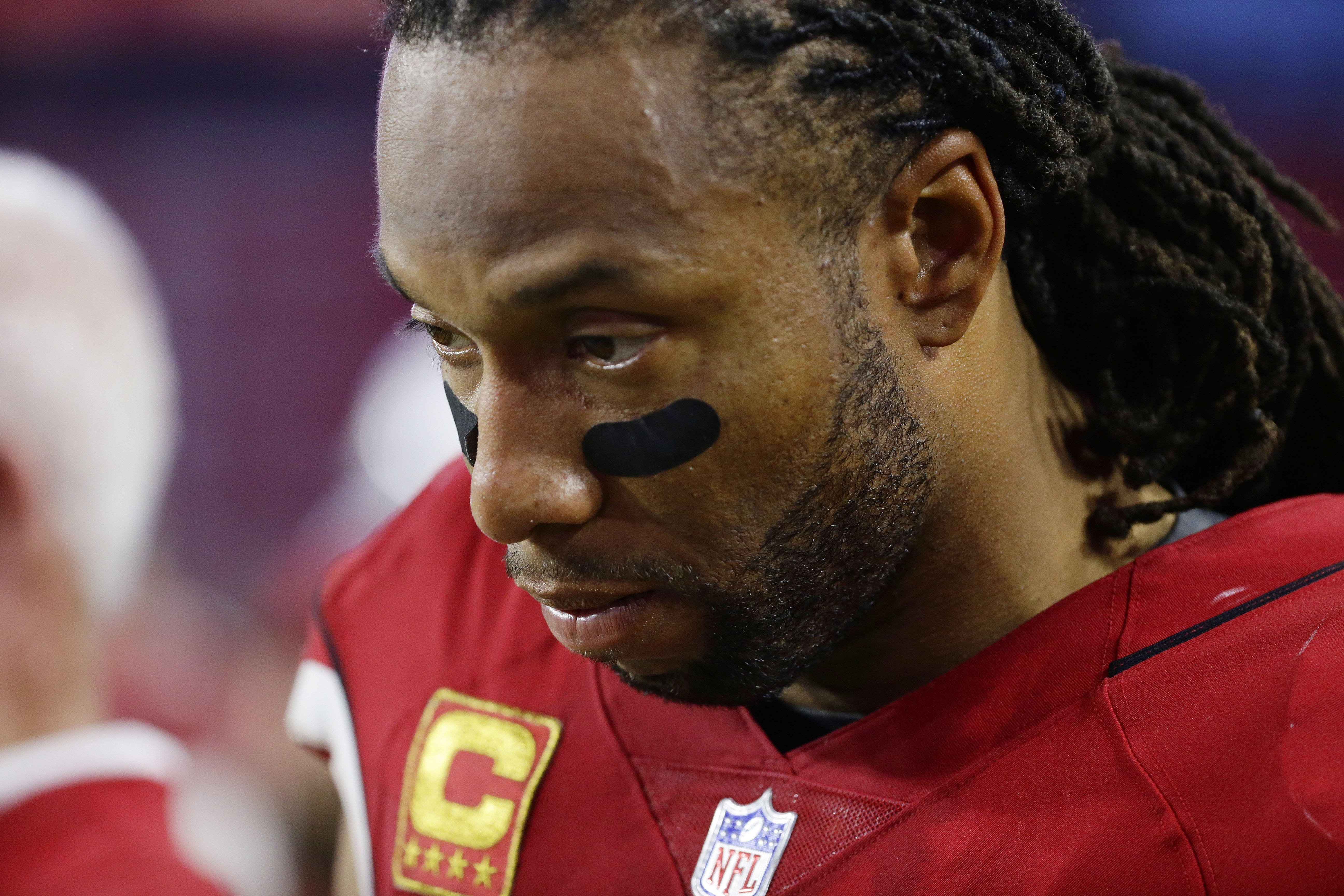 Arizona Cardinals Larry Fitzgerald reacts during their