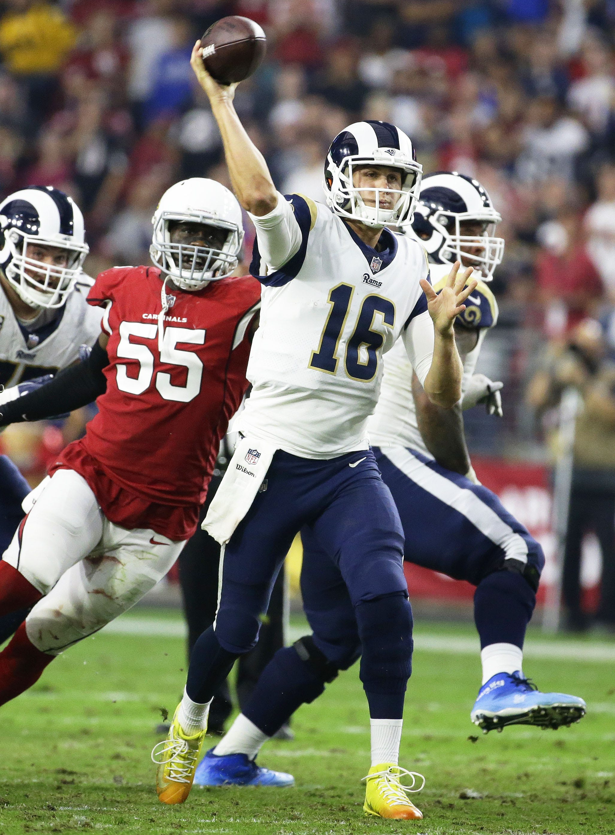 Los Angeles Rams quarterback Jared Goff throws a pass