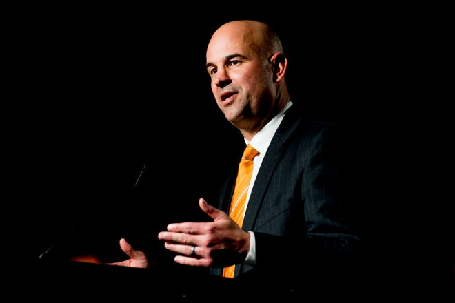 Jeremy Pruitt speaks during his introduction ceremony as Tennessee's next head football coach Thursday, Dec. 7, 2017, at the Neyland Stadium Peyton Manning Locker Room in Knoxville.