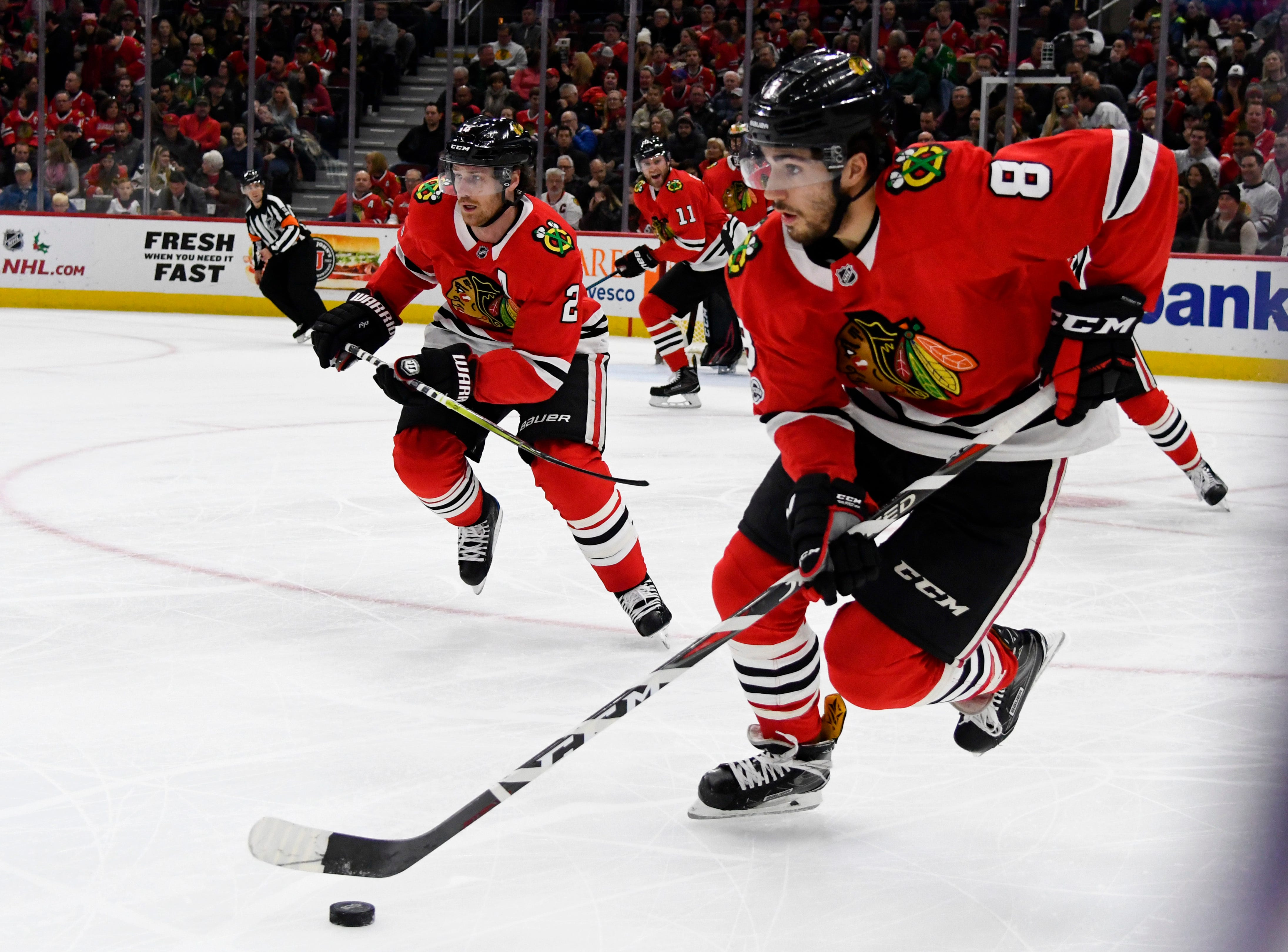 Forsling's goal late in OT lifts Blackhawks over Sabres, 3-2