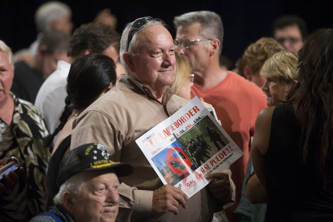 Former Senate President Russell Pearce attends a rally for Republican presidential candidate Donald Trump at Phoenix Convention Center on July 11, 2015. Pearce was the main architect of Arizona's Senate Bill 1070