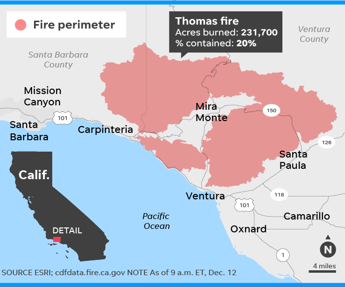 California S Thomas Fire Grows To Fifth Largest In History As Stars