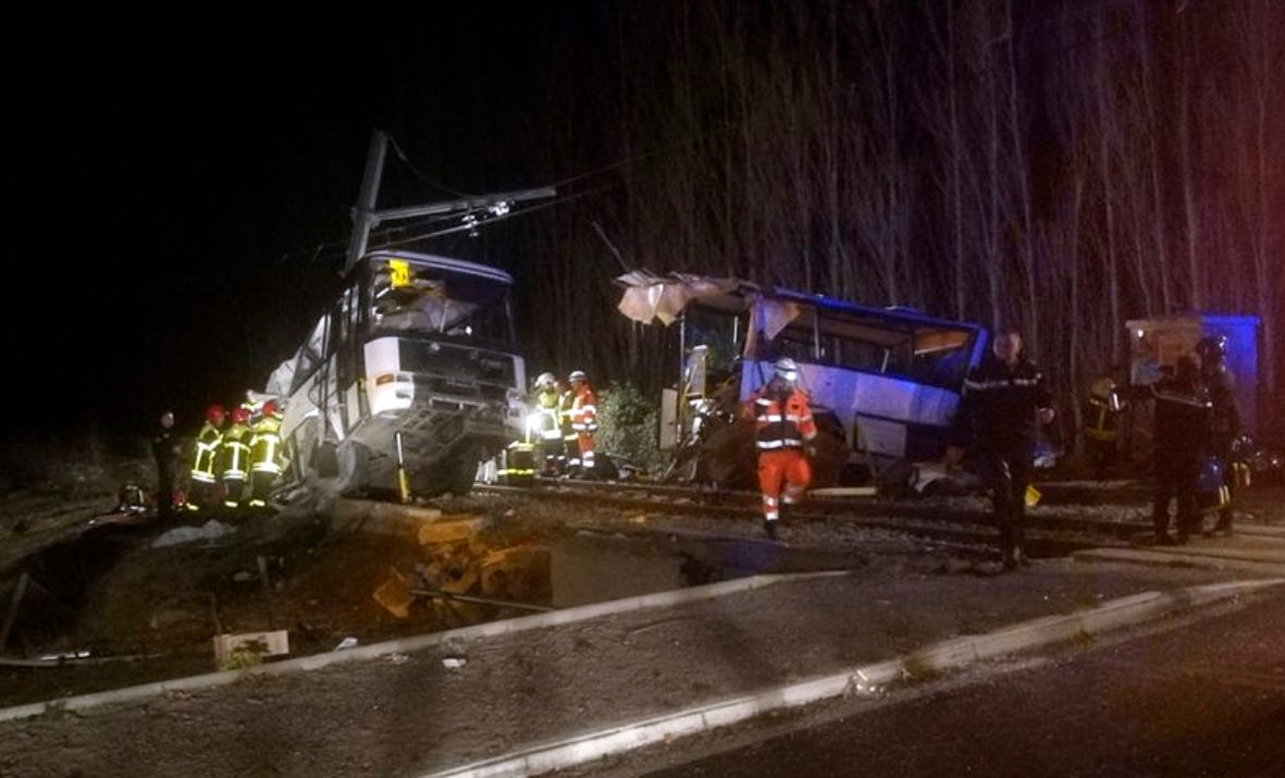 4 dead, including 2 children, after train and school bus collide in France