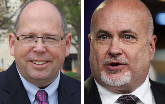 Wisconsin Supreme Court candidate Tim Burns (left) and U.S. Rep. Mark Pocan (right)