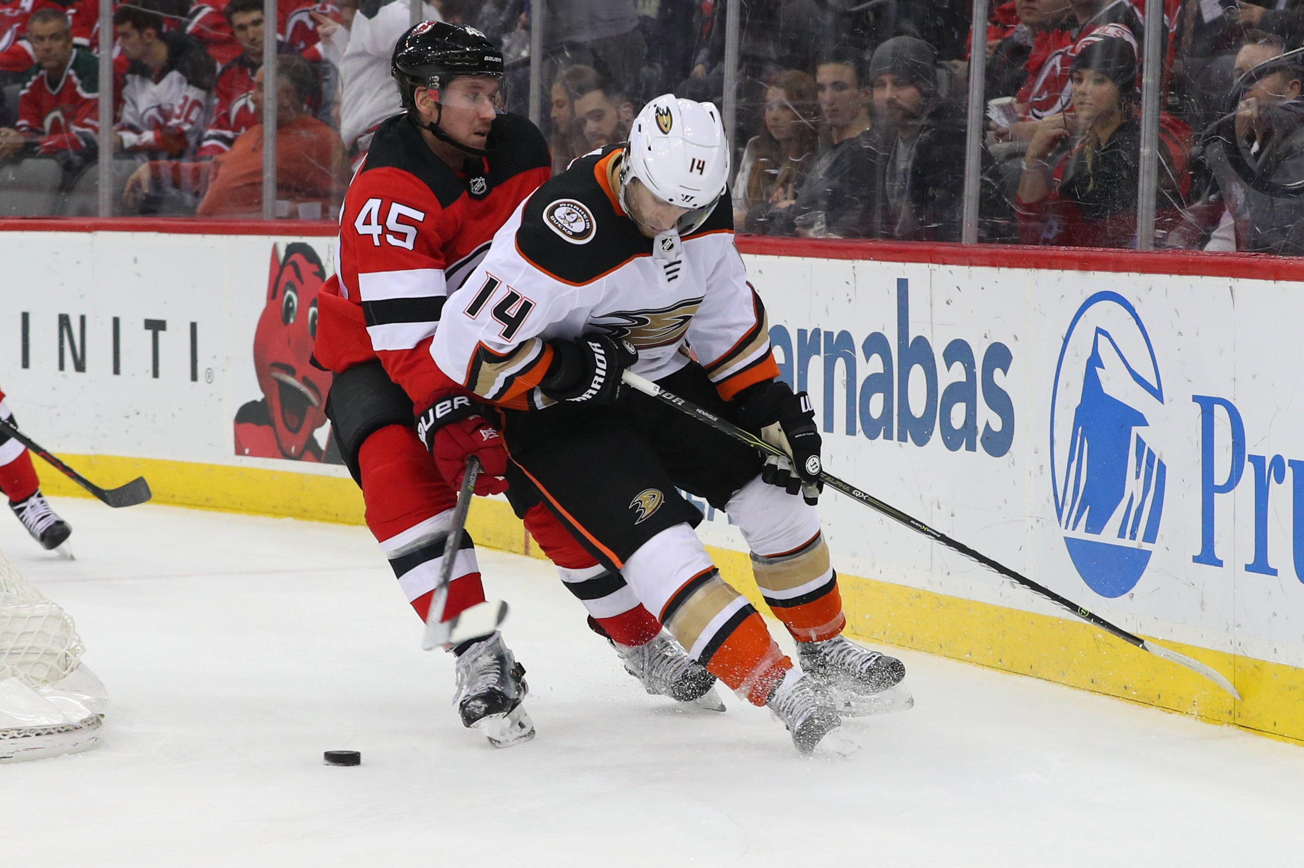 Ducks' Adam Henrique scores nice goal vs. Devils around player he was traded for