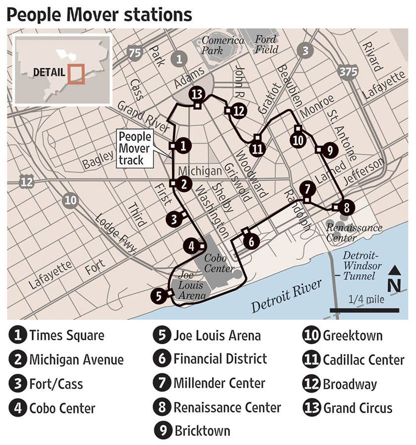Detroit People Mover\'s future unclear after Joe Louis Arena closes