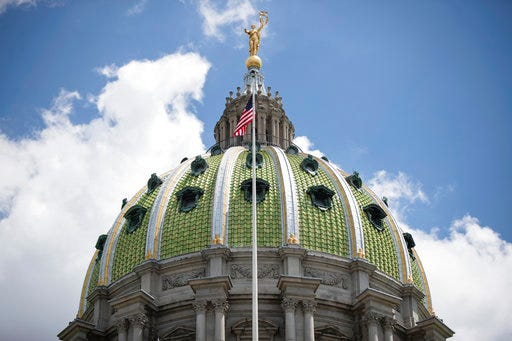 """""""The question is, where are we going to get $324 million a year,"""" said state Sen. Gene Yaw.""""It was very hard to find it before, and nowall of our effortstook a back seat to the pandemic.""""Shown is the Pennsylvania Capitol building in Harrisburg, Pa."""