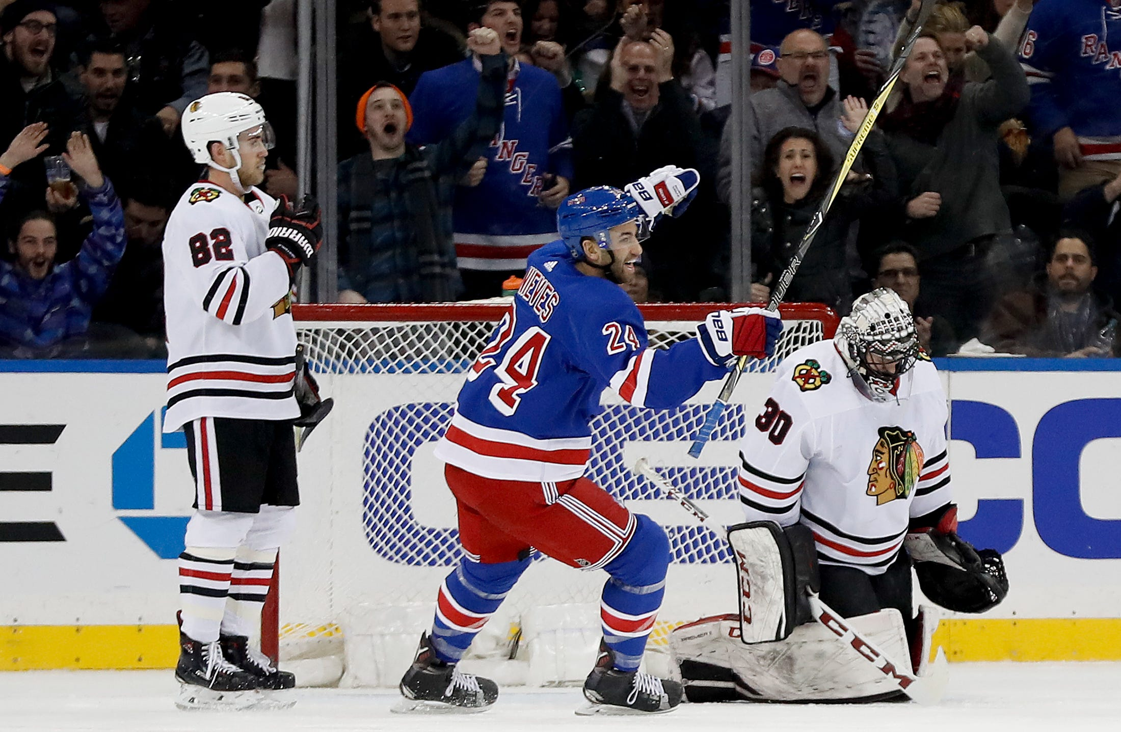 Sharp breaks tie in third, Blackhawks beat Rangers 5-2