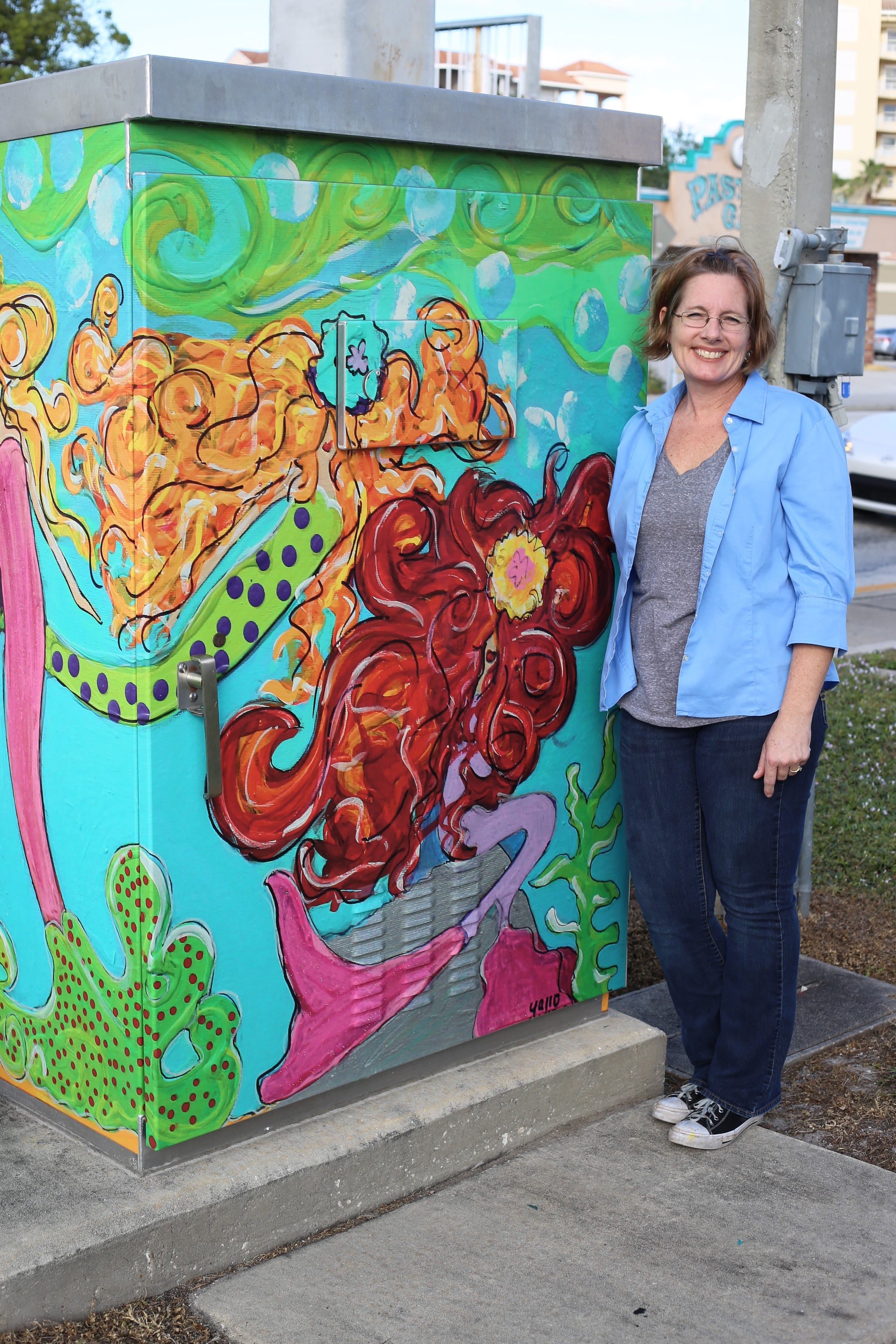 636507515202829870-Art-Jen-Gallo Cocoa takes art to the streets with bright electrical boxes and whimsical park benches