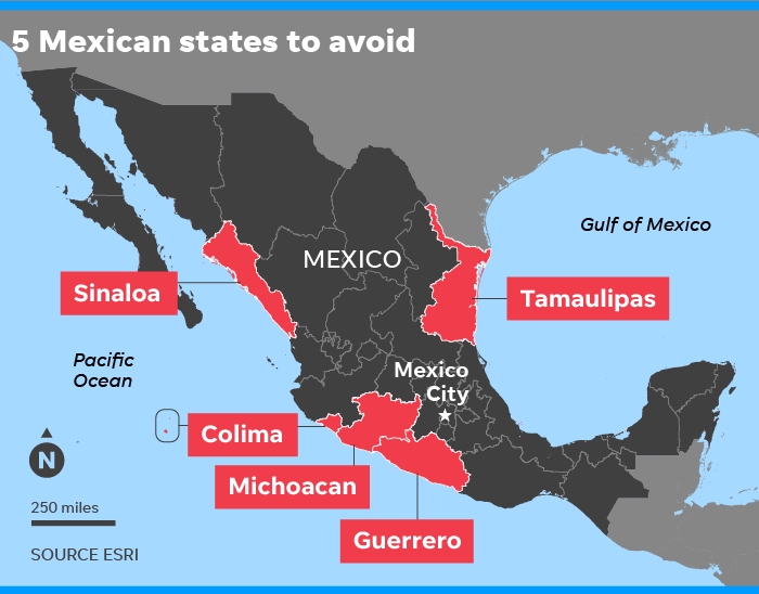 Cartels In Mexico Map.Mexico Travel Warning U S Urges Citizens To Avoid 5 Mexican States