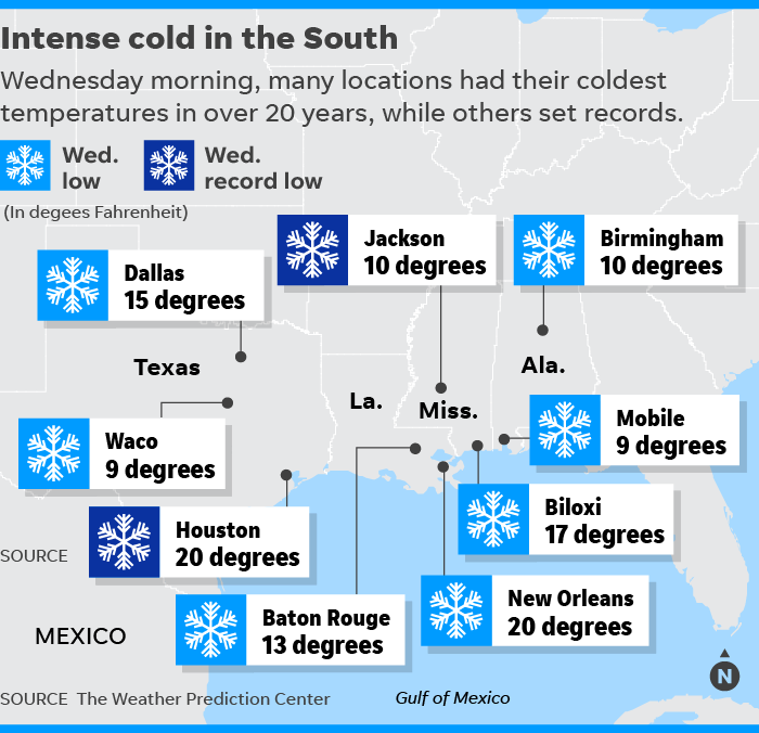 Snow, ice and record cold grip the South; at least 10 dead, causes travel chaos (weather.com)