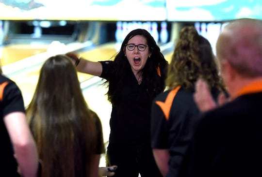 Top bowler Ashley Cicciarelli of Union Endicott during the Southern Tier Athletic Conference boys and girls bowling championship, Midway Lanes, Vestal, February 5, 2018