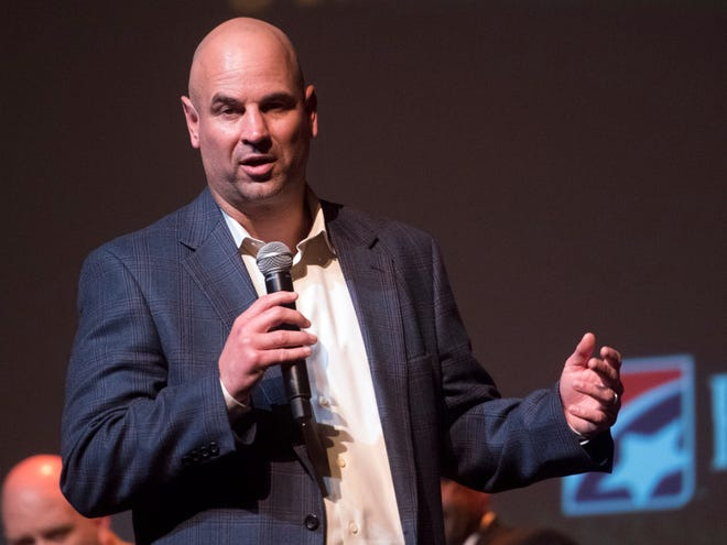 Tennessee head coach Jeremy Pruitt talks about the new signing class in a celebration at the Tennessee Theatre on Wednesday, February 7, 2018.