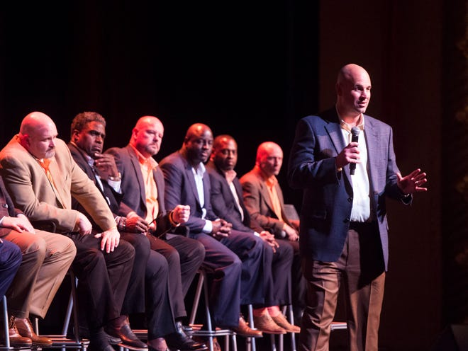 Vols coach Jeremy Pruitt introduces the football staff and the year's new signees during a signing day celebration Feb. 7.