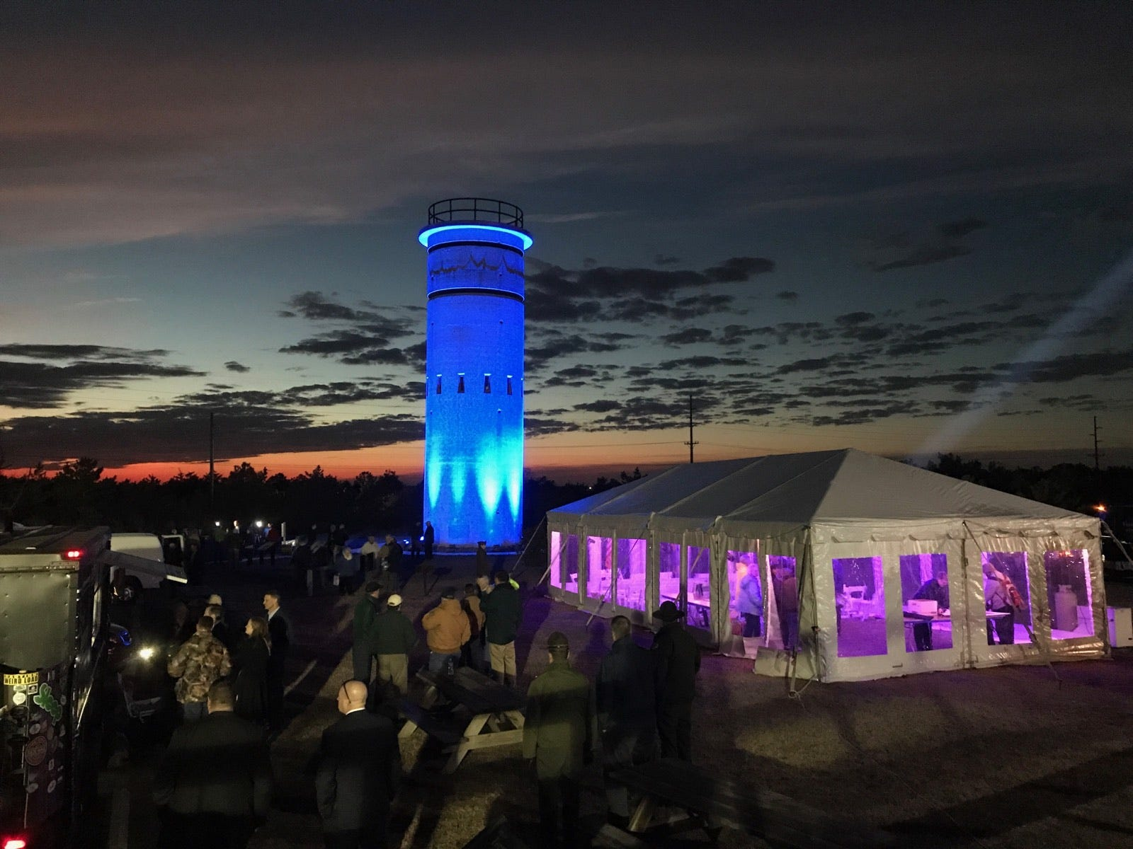 WWII tower lights up the night at Delaware Seashore State Park