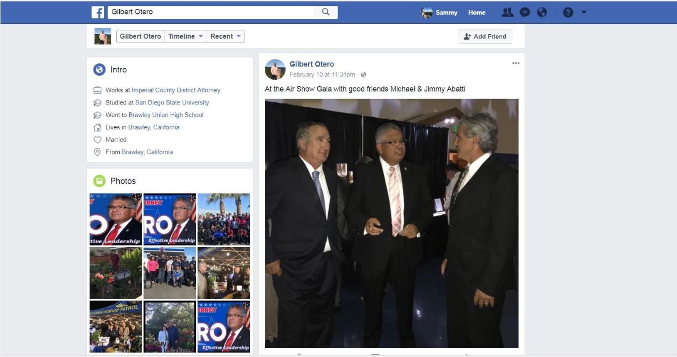 """Left to right: Former Imperial Irrigation District board member Mike Abatti, Imperial County district attorney Gilbert Otero, and Mike Abatti's brother Jimmy Abatti. This photo was posted by the official Facebook profile for Otero's re-election campaign on Feb. 10, 2018, with the caption, """"At the Air Show Gala with good friends Michael & Jimmy Abatti."""""""