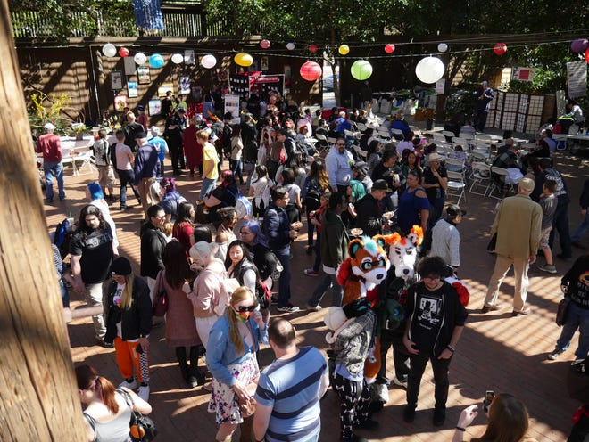 Crowds gather in the shade during the 34th Arizona Matsuri Festival of Japan in Phoenix, Ariz. on Feb. 24, 2018.